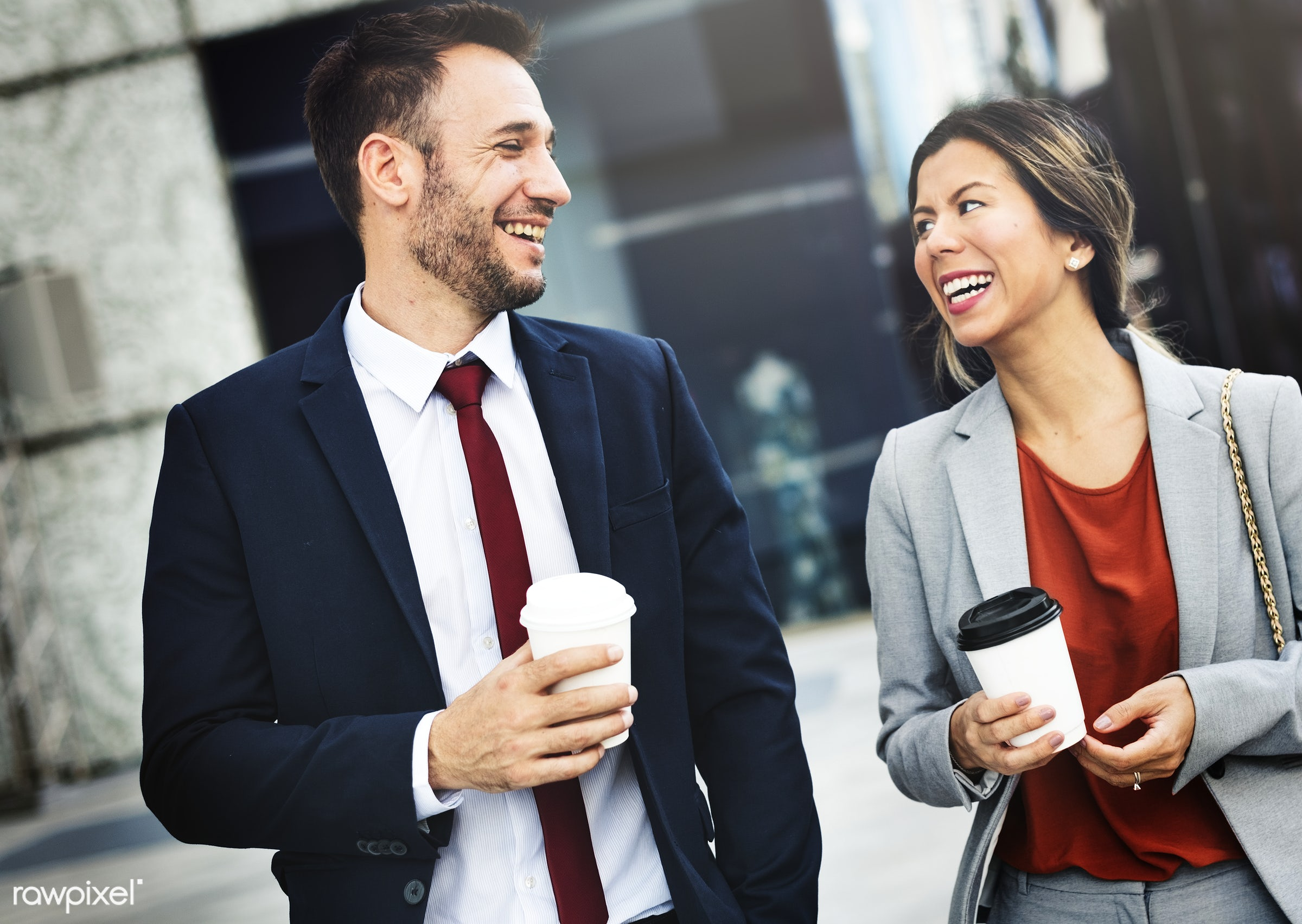 Caucasian man and woman colleagues business shoot - big business, business, business organization, business people,...