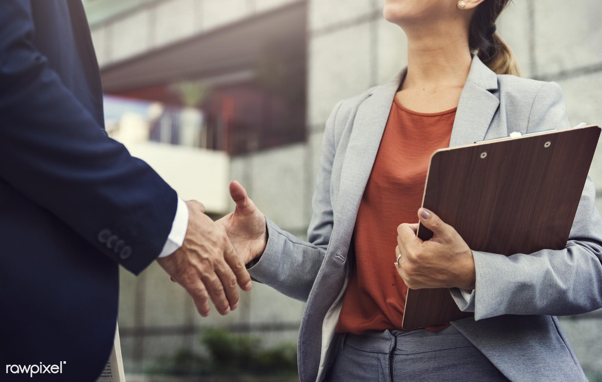 handshake, negotiation, agreement, business, business people, businessman, businesswoman, clipboard, colleague,...