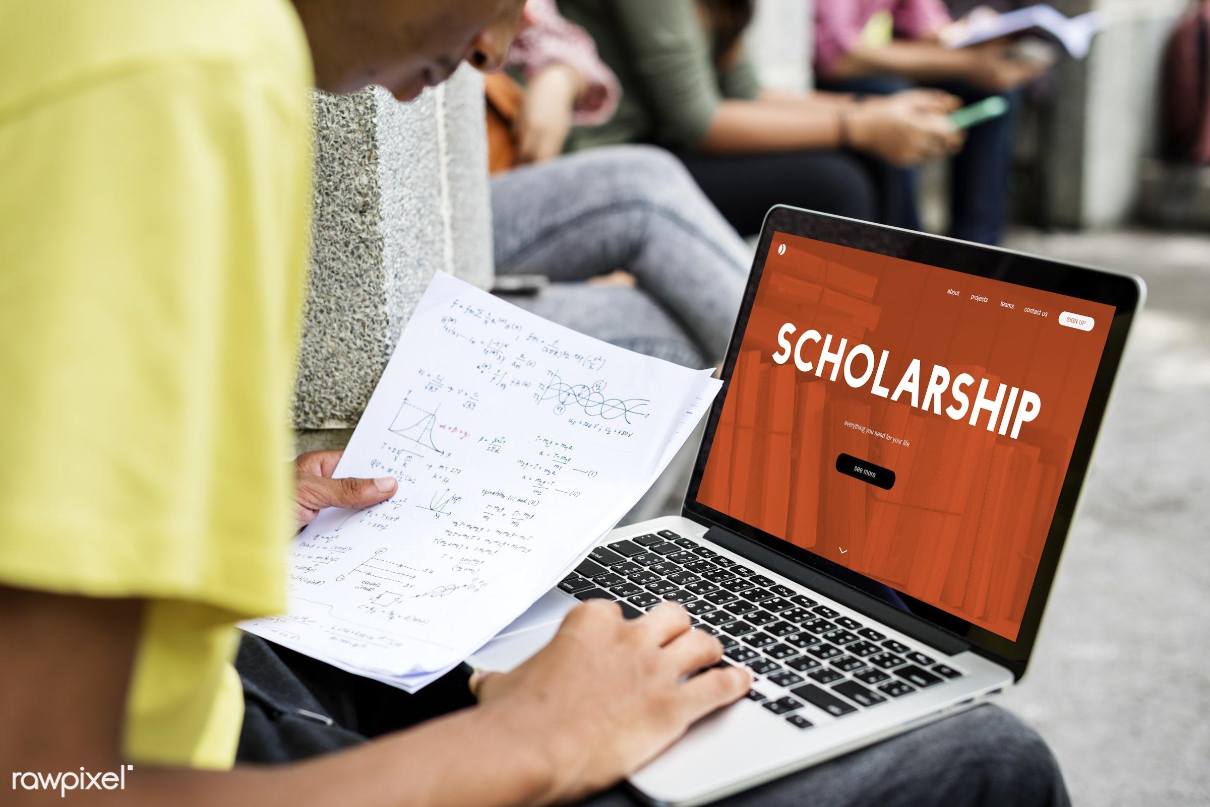 Online scholarship - academics, boy, calculation, case, class, course, curriculum, digital device, distance, e-learning,...