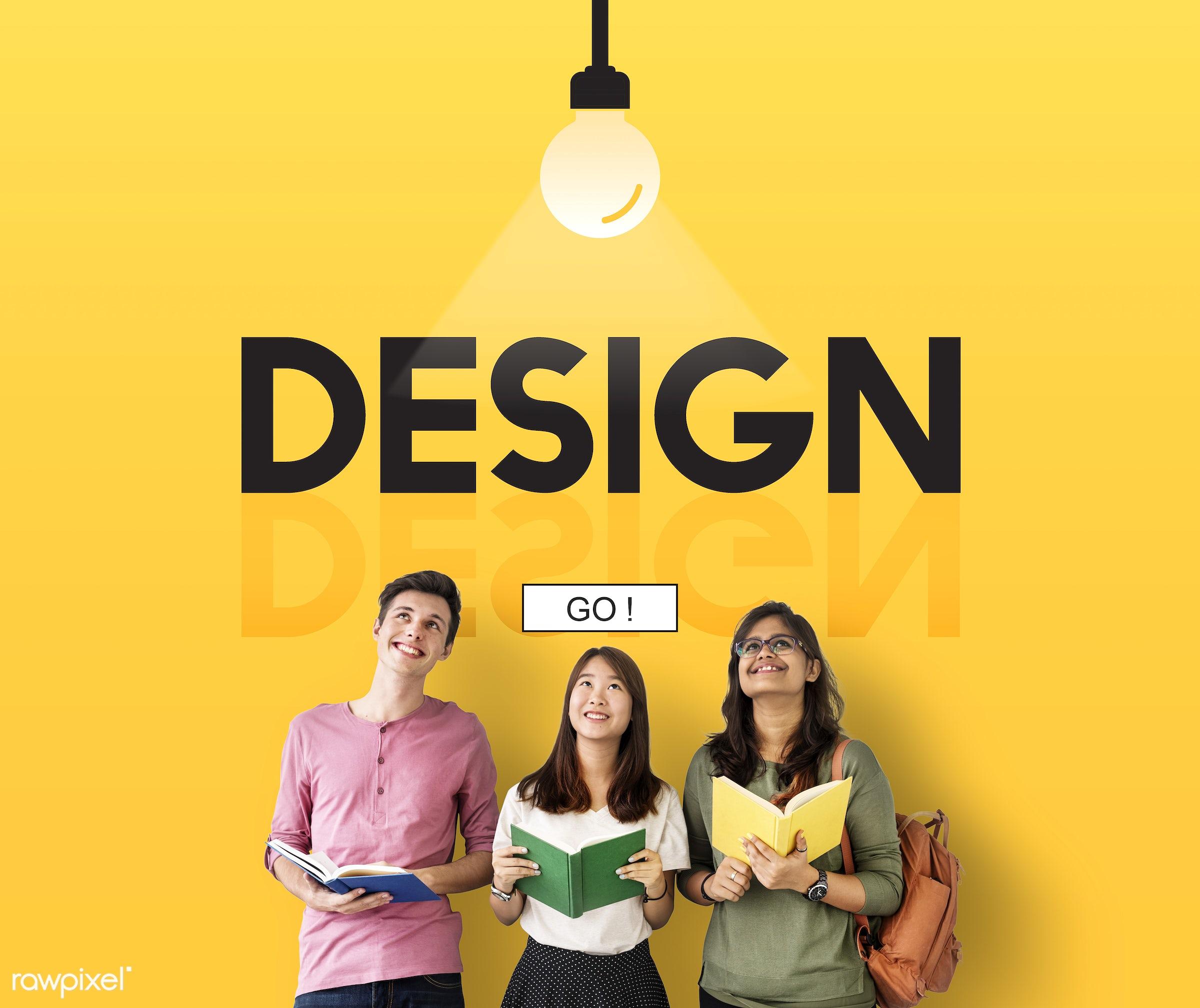 Design ideas - create, creative, action, african descent, asian, aspirations, be creative, book, brainstorm, caucasian,...