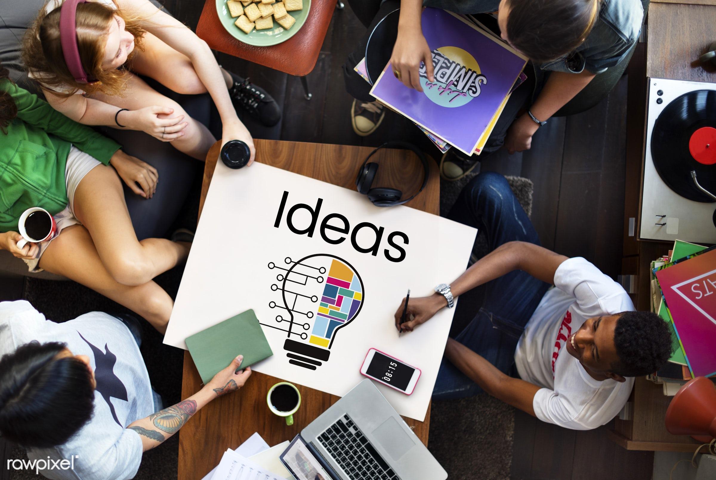 Ideas - african descent, asian, caucasian, creative, data, design, diversity, enjoyment, friends, friendship, fun, graphic,...