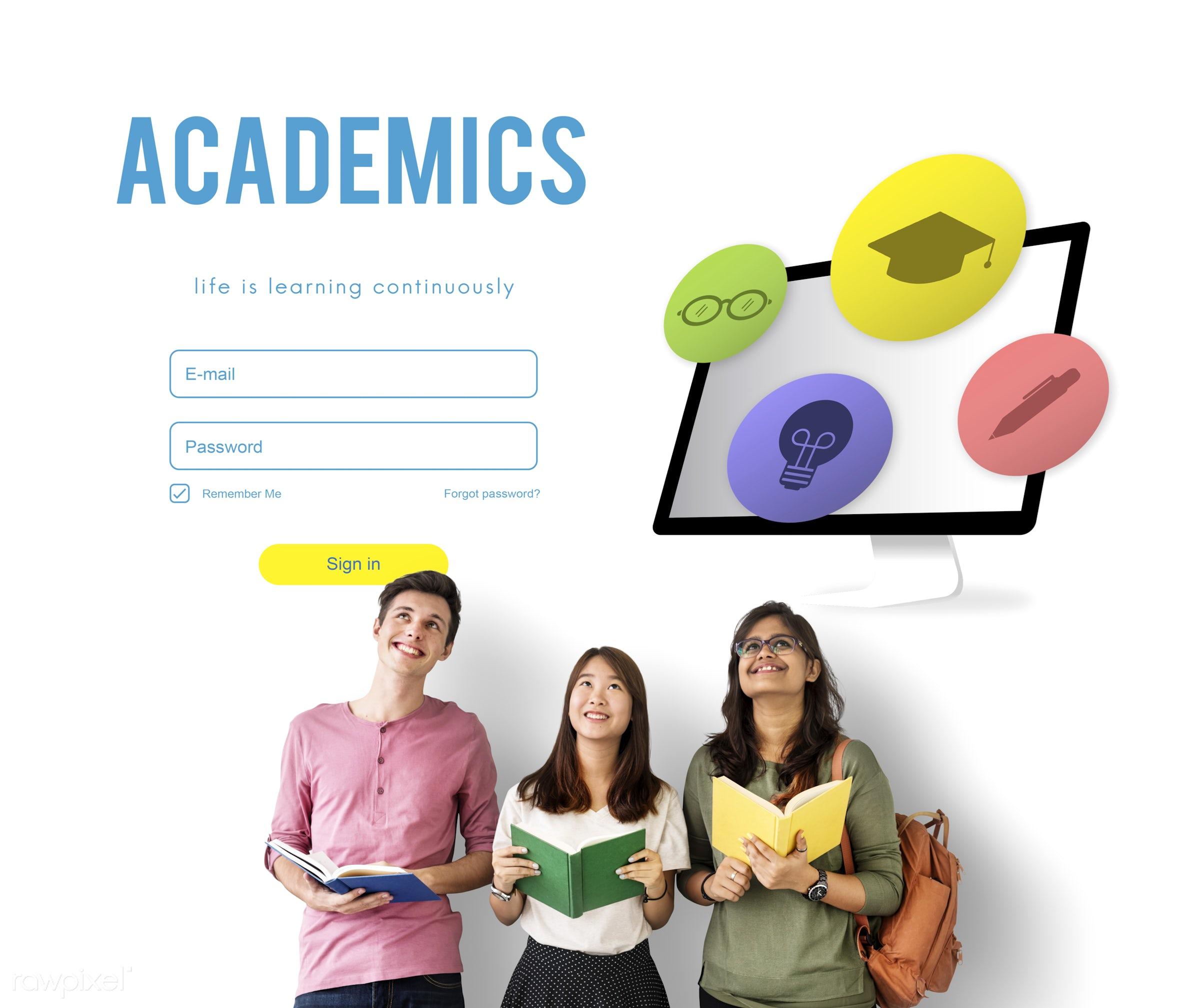 academics, african descent, asian, book, caucasian, distance learning, diversity, e-learning, education, enjoyment, friends...