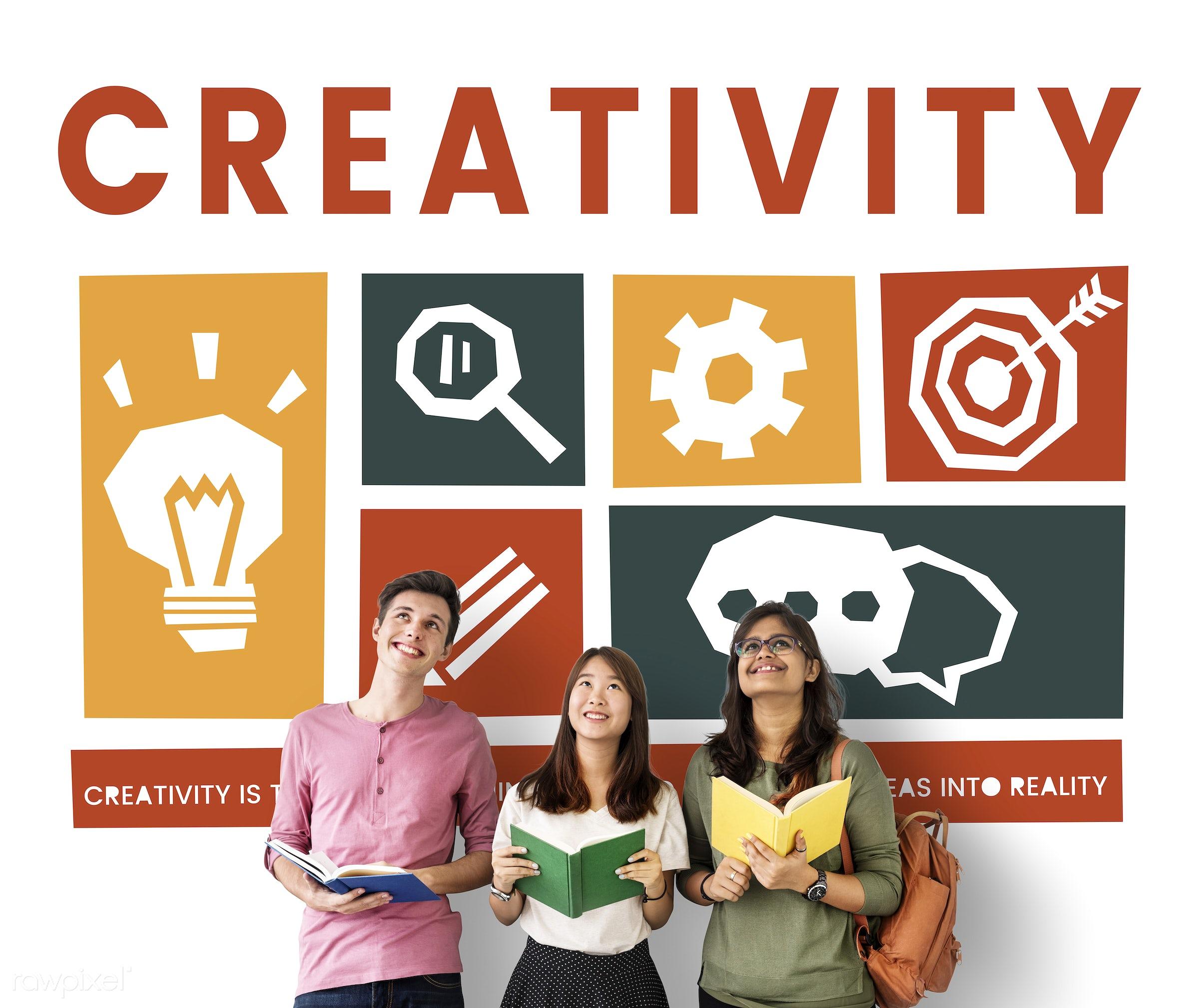 african descent, asian, book, caucasian, chat, cog, creative, creativity, design, diversity, enjoyment, fresh, friends,...