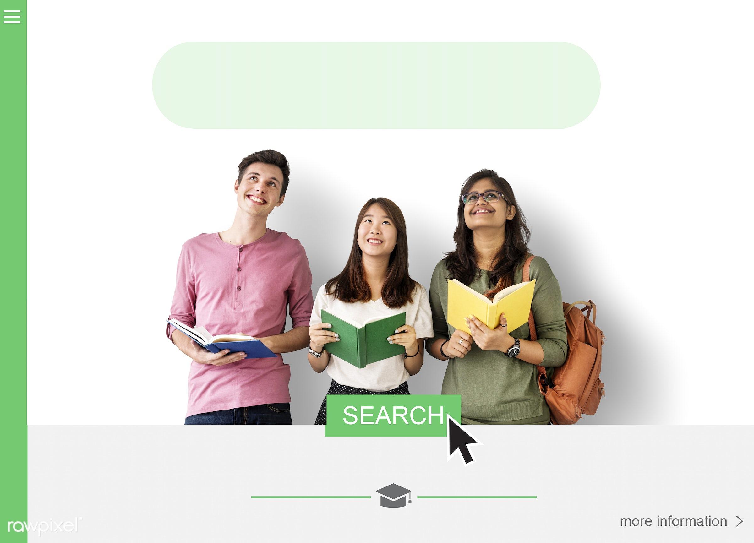 african descent, asian, blank, book, box, browse, caucasian, copy space, diversity, education, empty, enjoyment, friends,...