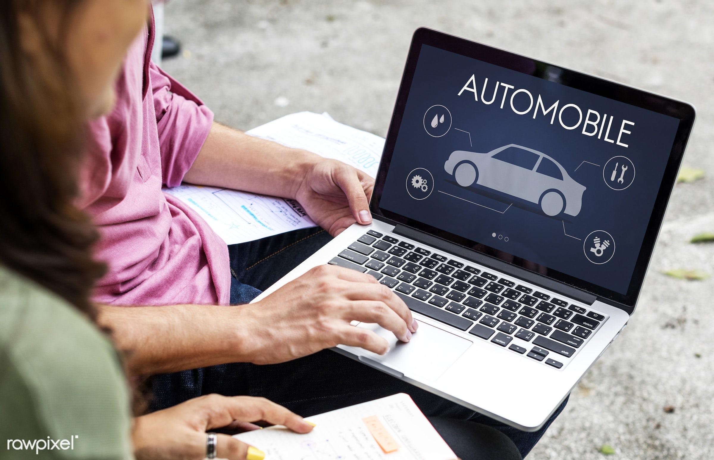 asian, auto repair shop, auto service, automobile, automotive, browsing, car, car mechanic, caucasian, devices, diversity,...