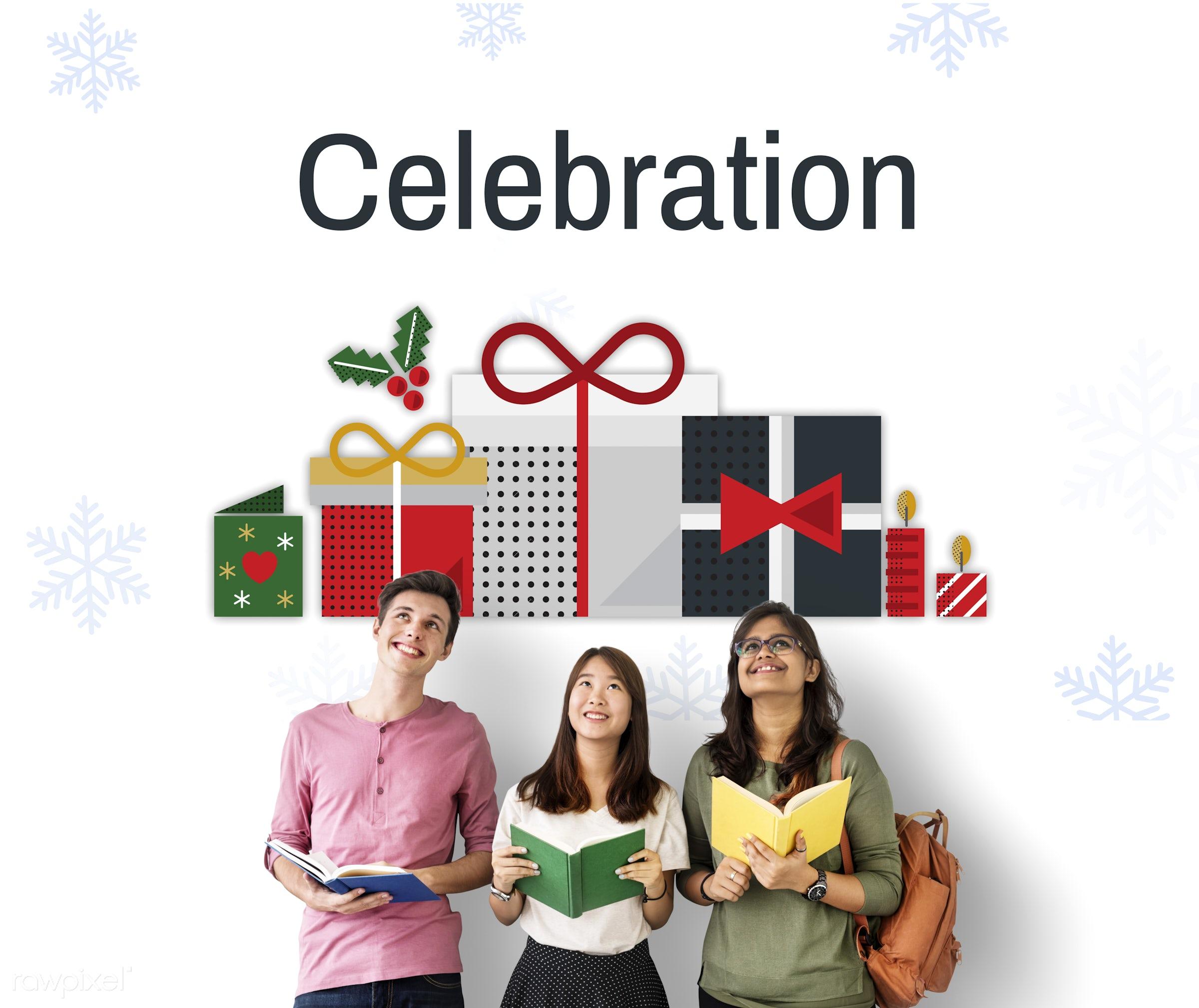 african descent, asian, best wishes, book, caucasian, celebration, christmas, confetti, decoration, diversity, enjoyment,...