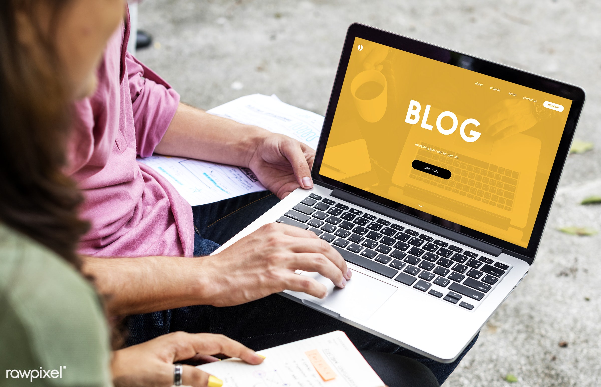 Online blog - blog, asian, browsing, caucasian, chat, communication, community, connection, content, devices, digital,...