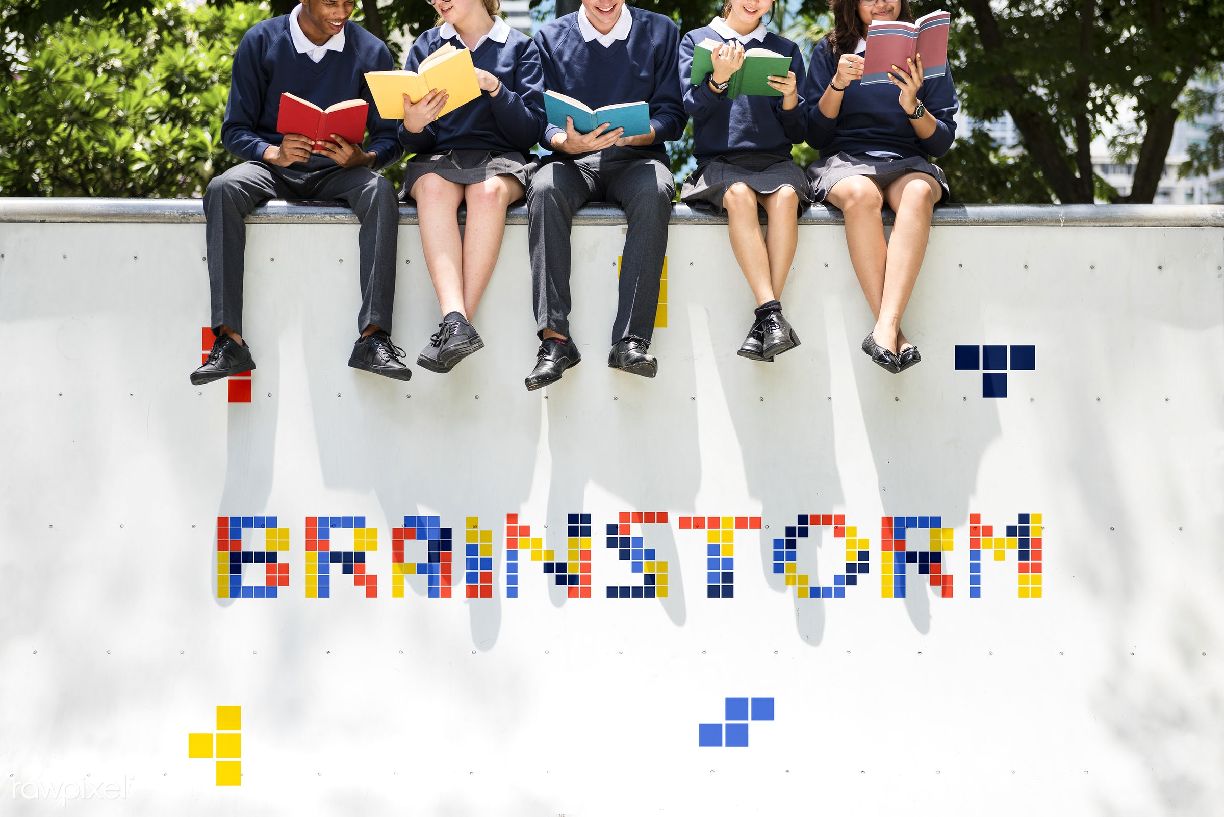 8 bit, block, books, brainstorm, class, college, diversity, friends, friendship, game, graphic, high school, holding,...