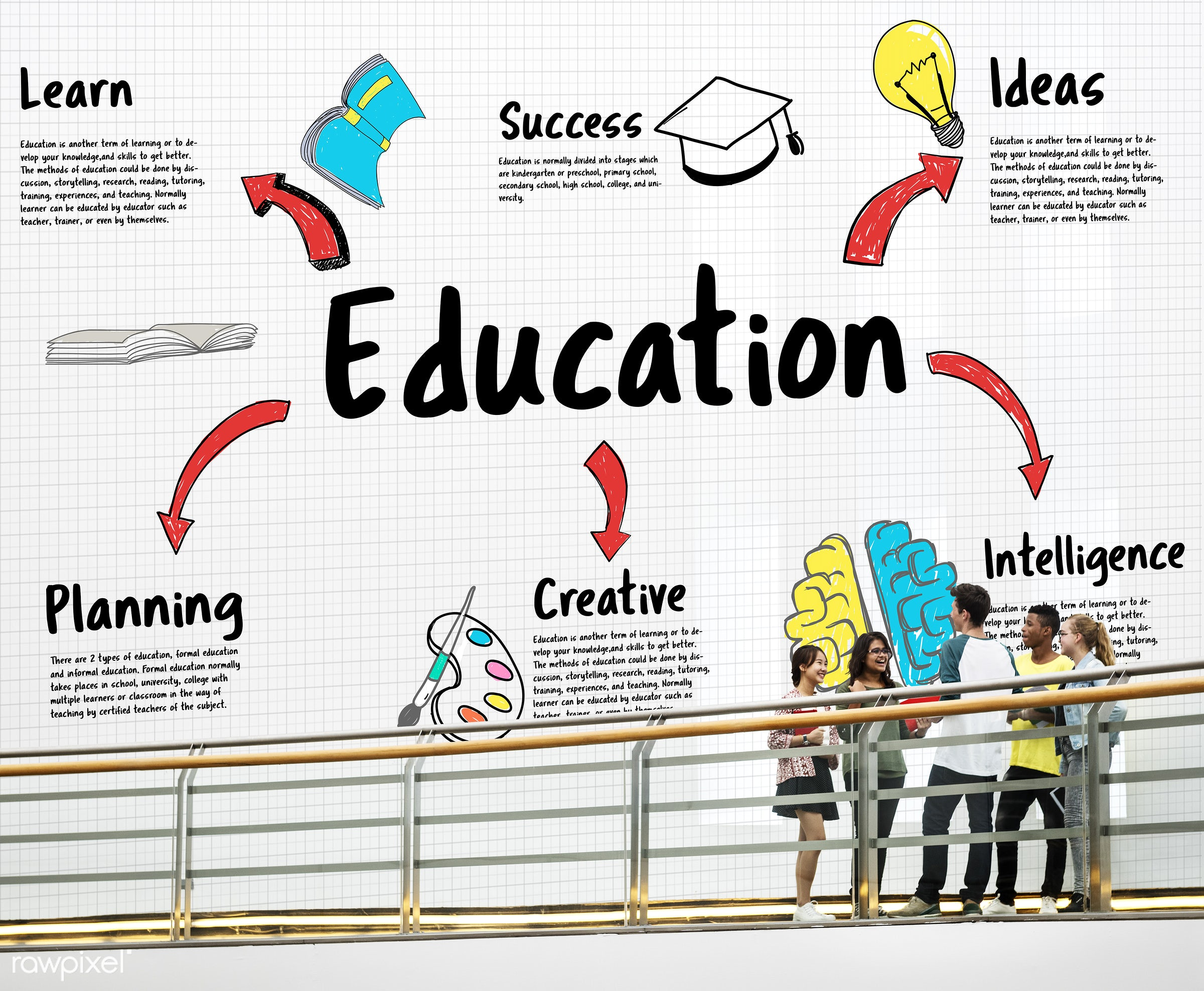 academic, book, books, boy, brain, bridge, bulb, carrying, creativity, friends, friendship, girls, graphic, group of people...