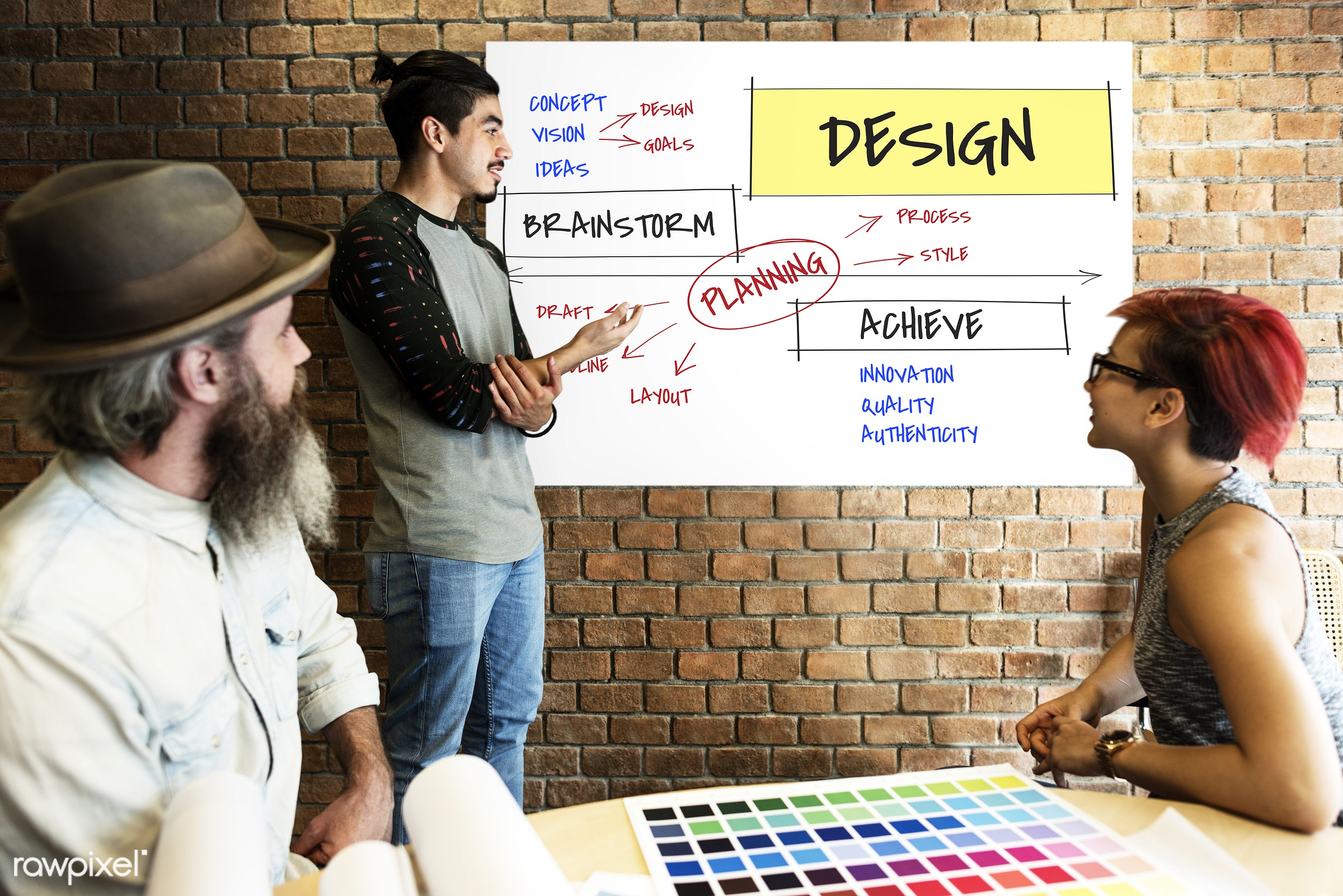 achieve, art, authenticity, beard, board, brick wall, chart, coal, color chart, colors, concept, design, discussion, draft,...