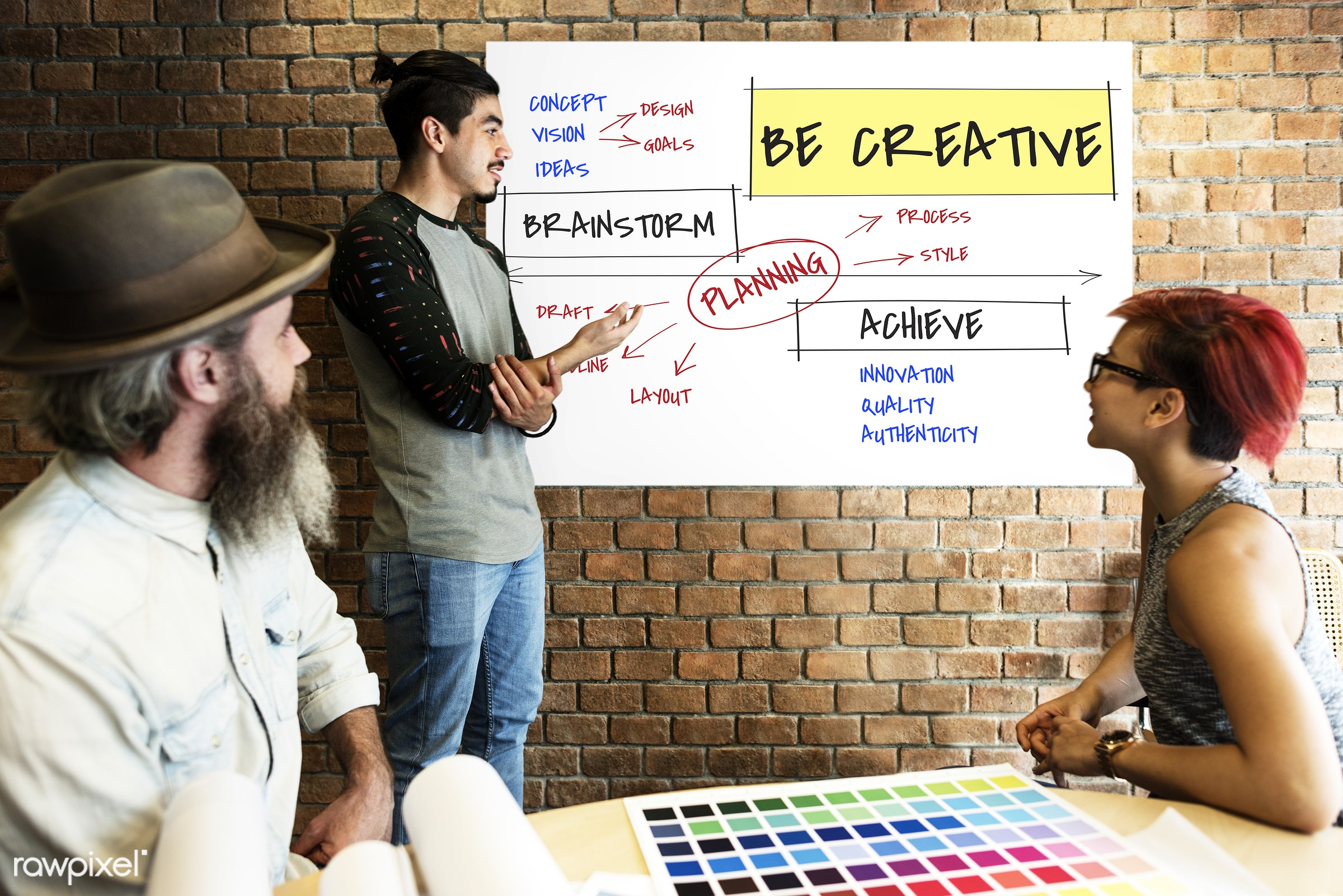 achieve, art, authenticity, be creative, beard, board, brainstorm, brick wall, chart, color chart, colors, creative,...
