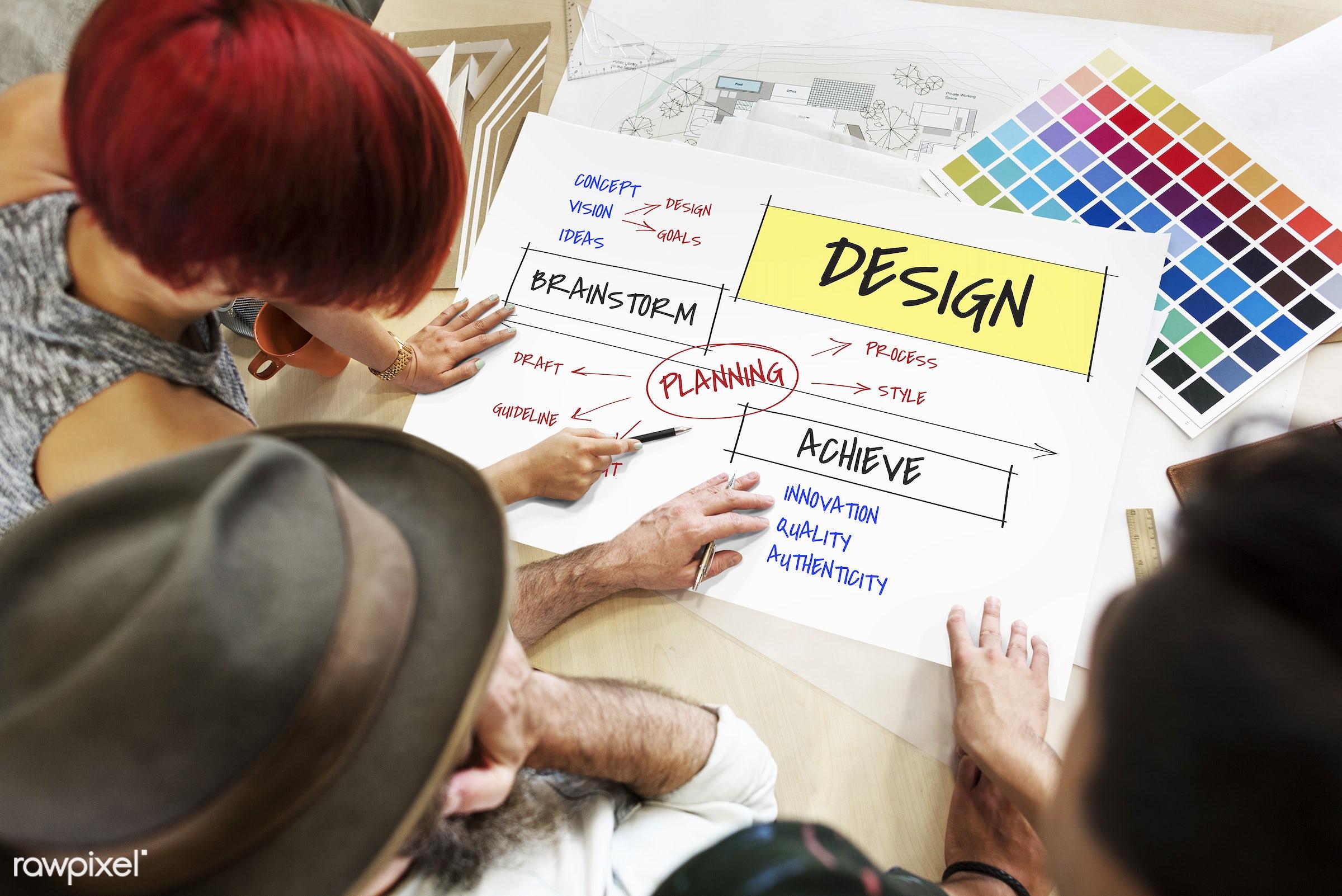 achieve, art, authenticity, coal, color chart, colors, concept, design, discussion, draft, female, fresh ideas, goals,...