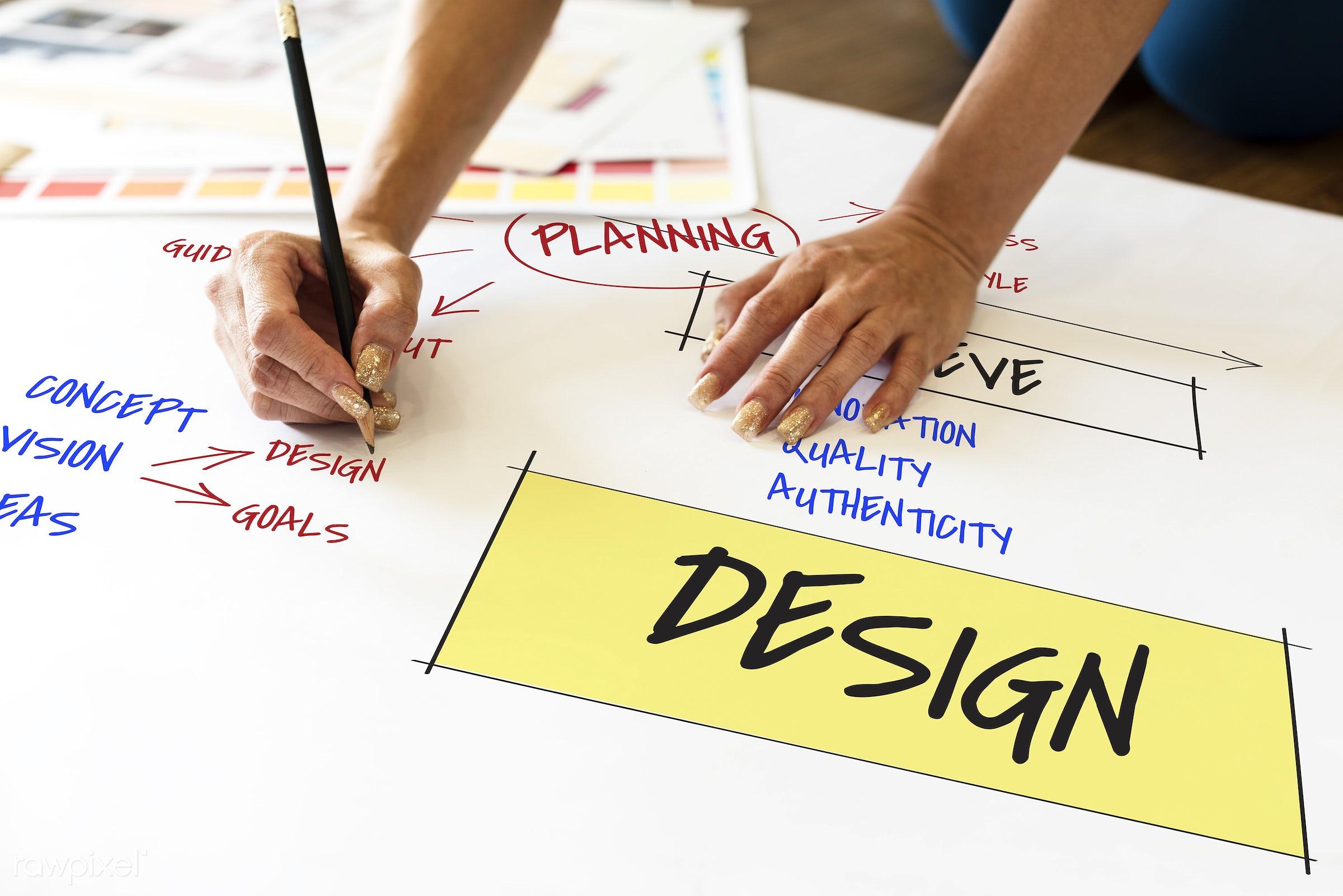 Design - innovation, target, achieve, art, authenticity, coal, concept, creation, creative, creativity, design, draft,...