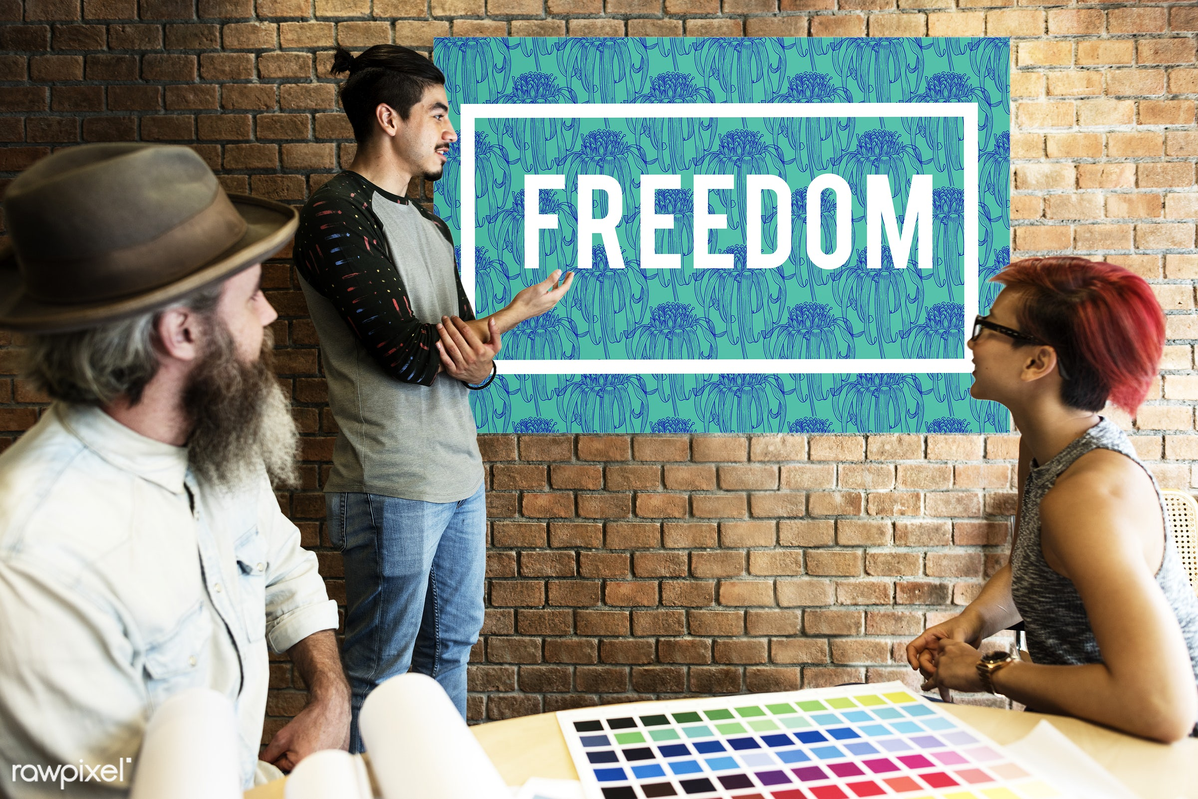 art, beard, board, brick wall, carefree, chart, color chart, colors, design, discussion, energetic, energized, female, free...
