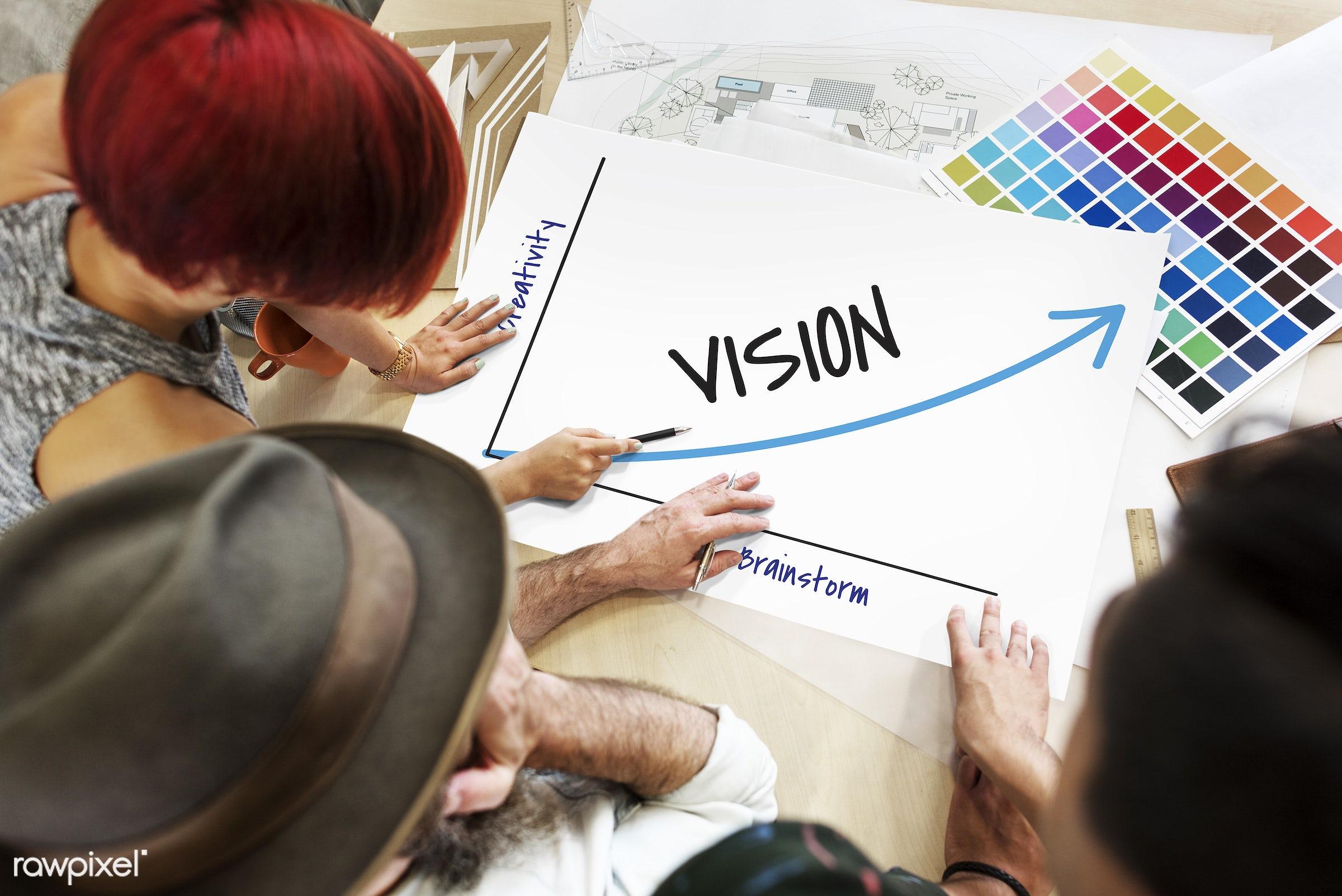 achievement, art, aspirations, brainstorm, color chart, colors, creativity, design, direction, discussion, female, future,...
