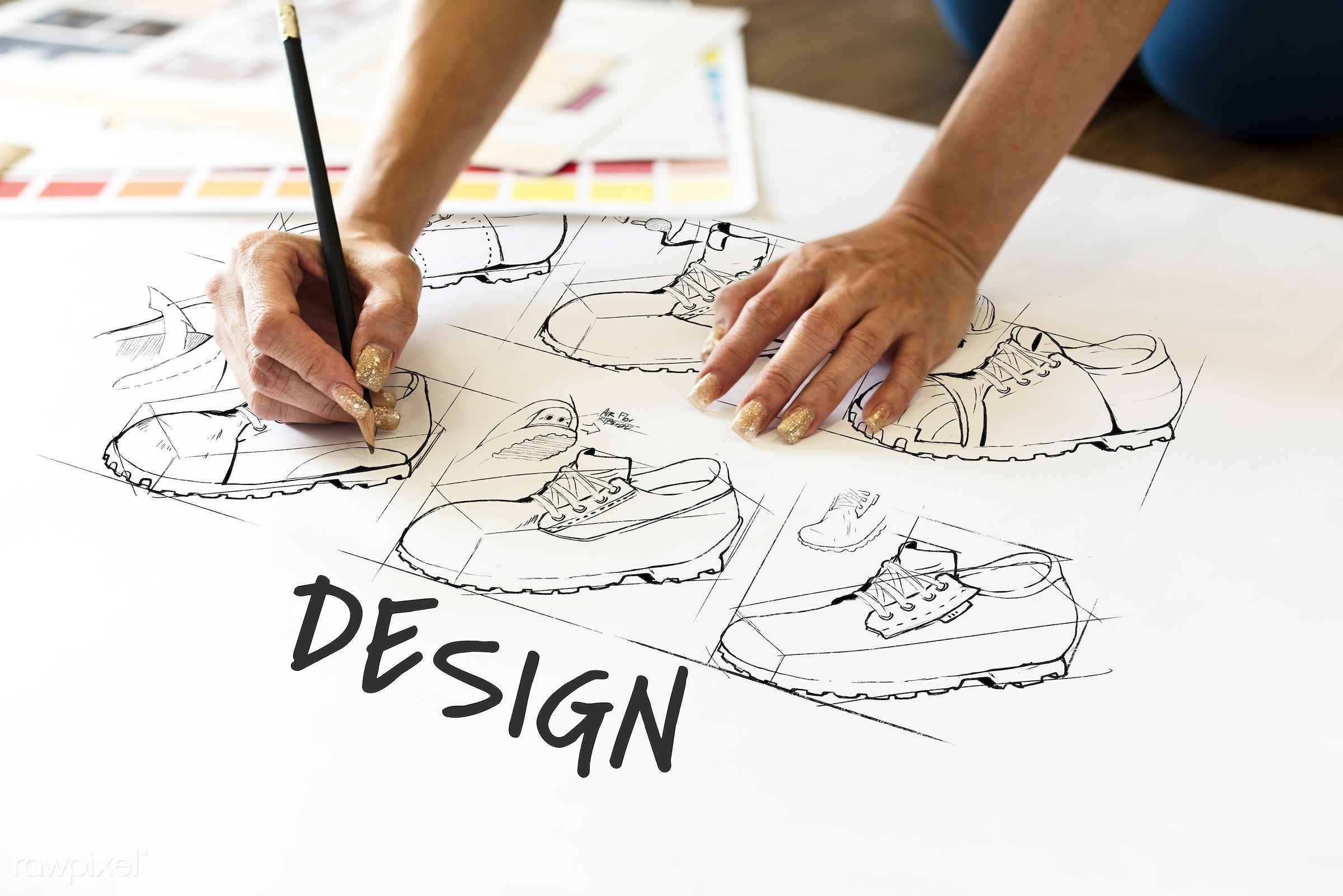 art, artistry, assemble, creation, creative, creativity, design, developments, draft, drawing, fashion, footwear, hands,...