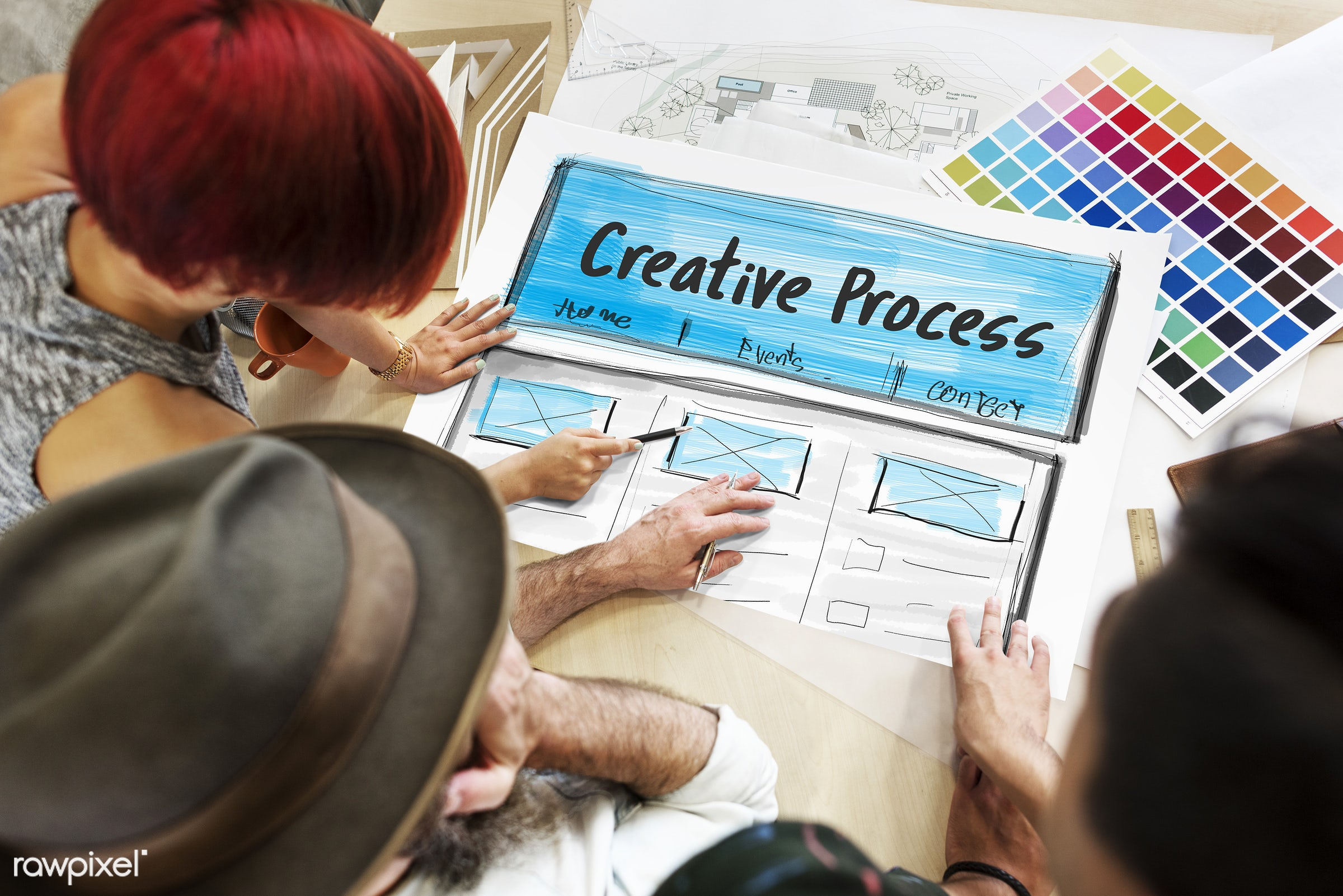 art, color chart, colors, creation, creative, creativity, design, discussion, draft, drawing, female, graphic, hands, ideas...