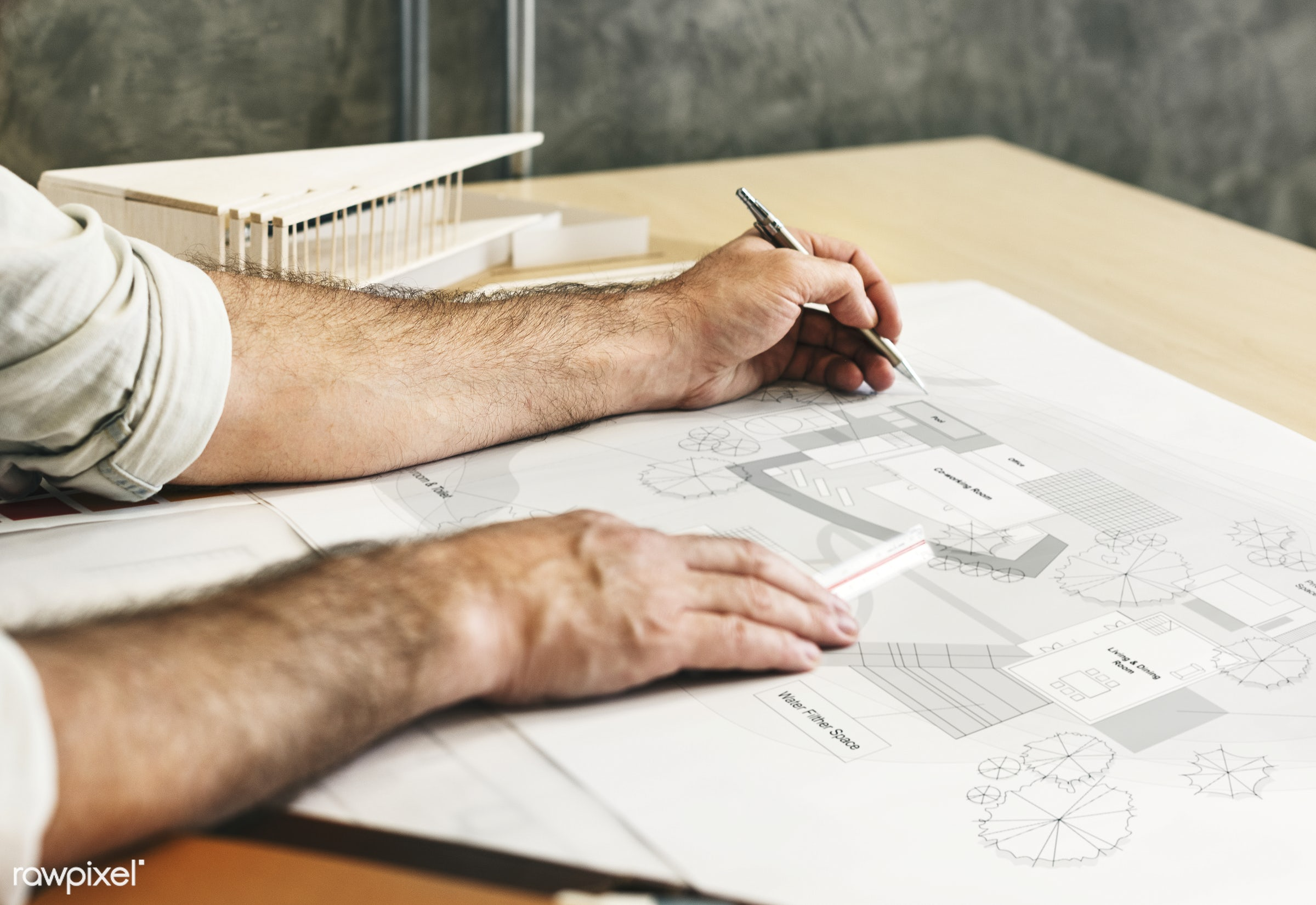 Architect working in a design studio - stationery, architect, architecture, blueprint, brainstorming, creative occupation,...