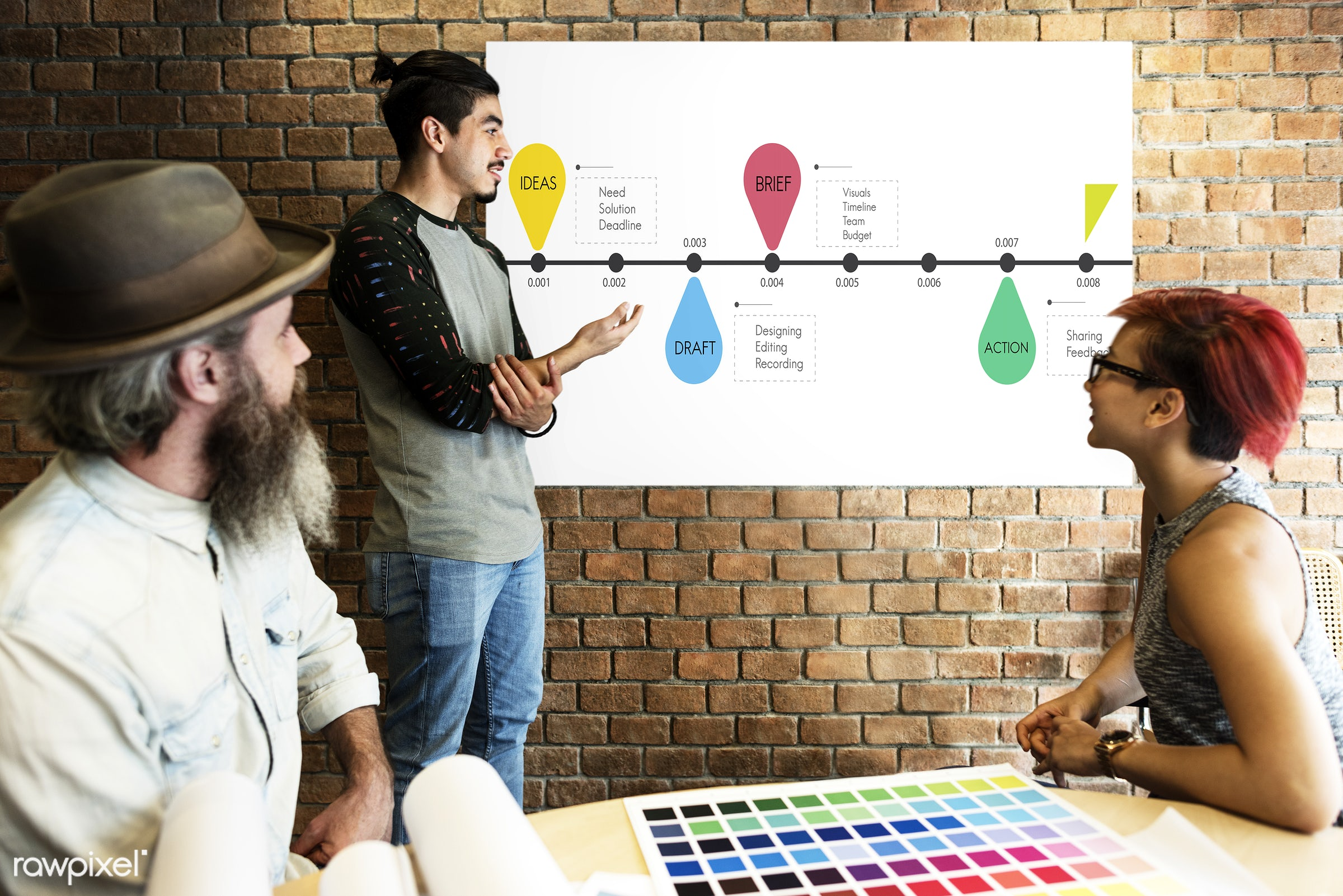 actions, art, beard, board, brick wall, brief, budget, chart, color chart, colors, creative, deadline, design, designing,...
