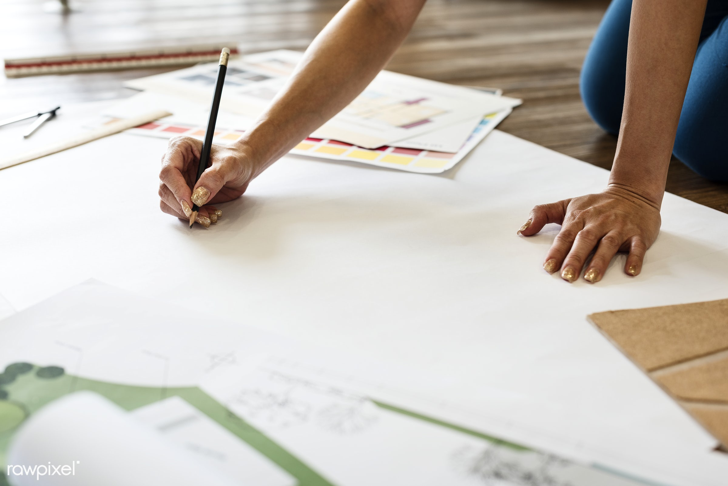 Architect working on a project - architect, architecture, blank, blueprint, brainstorming, color swatch, copy space,...