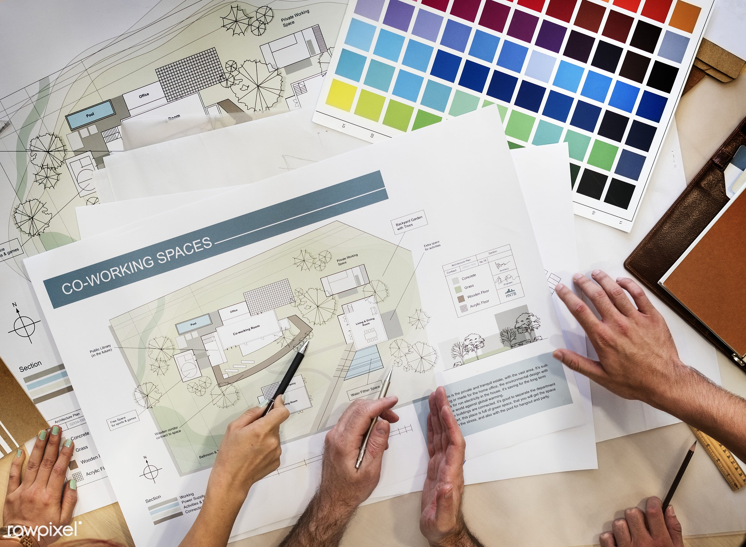 Architects working on a project - architecture, project, designer, architect, planning, innovation, stationery, aerial view...