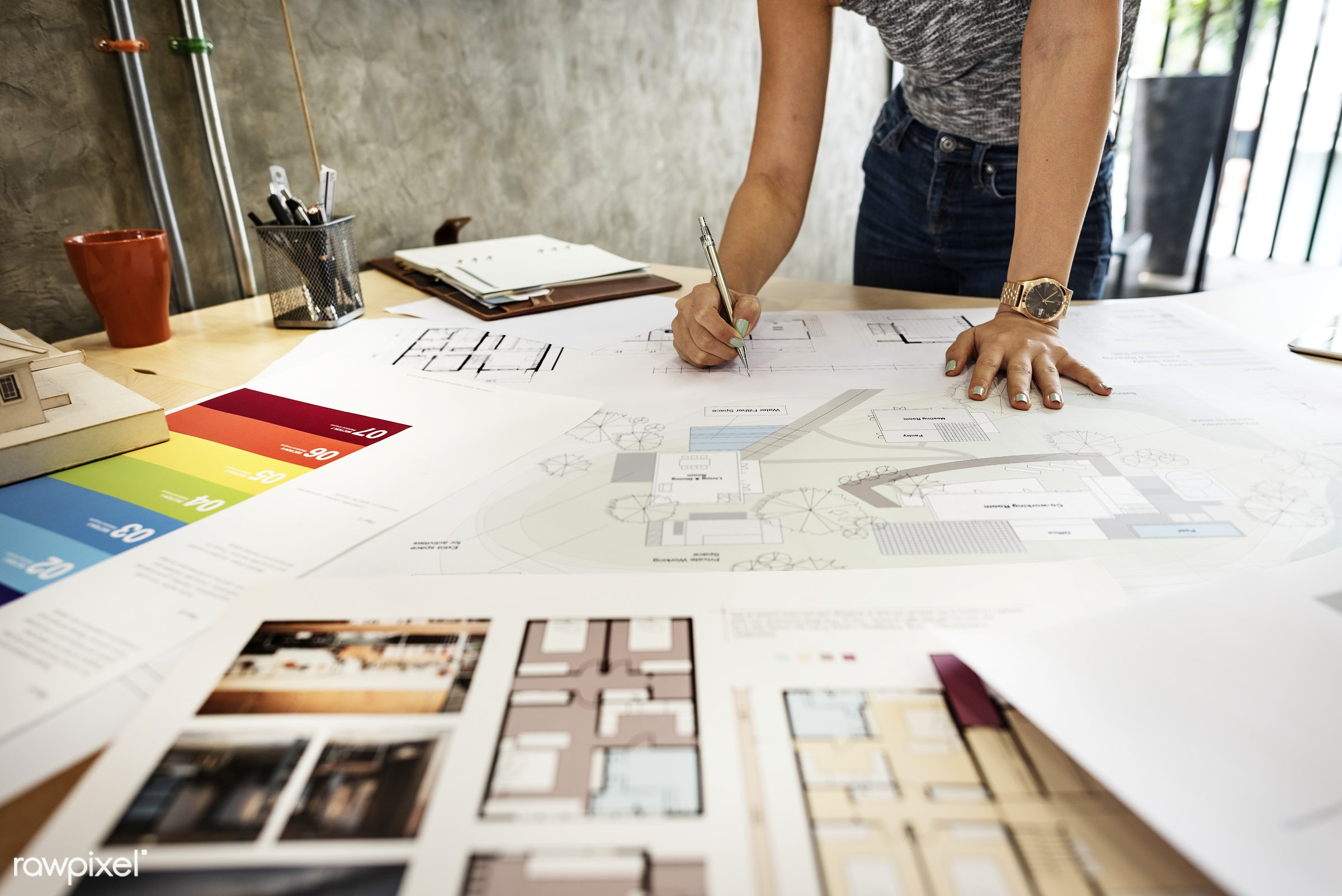 architect, architecture, blueprint, brainstorming, color swatch, creative occupation, creativity, design, design studio,...