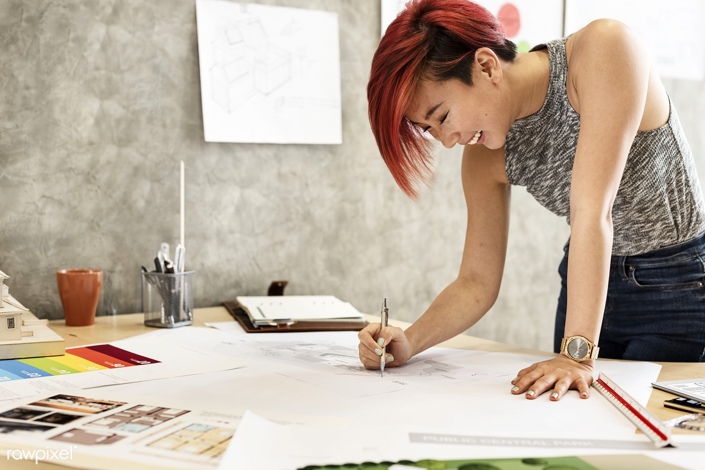 designer, office, project, planning, blueprint, architect, architecture, asian ethnicity, brainstorming, color swatch,...