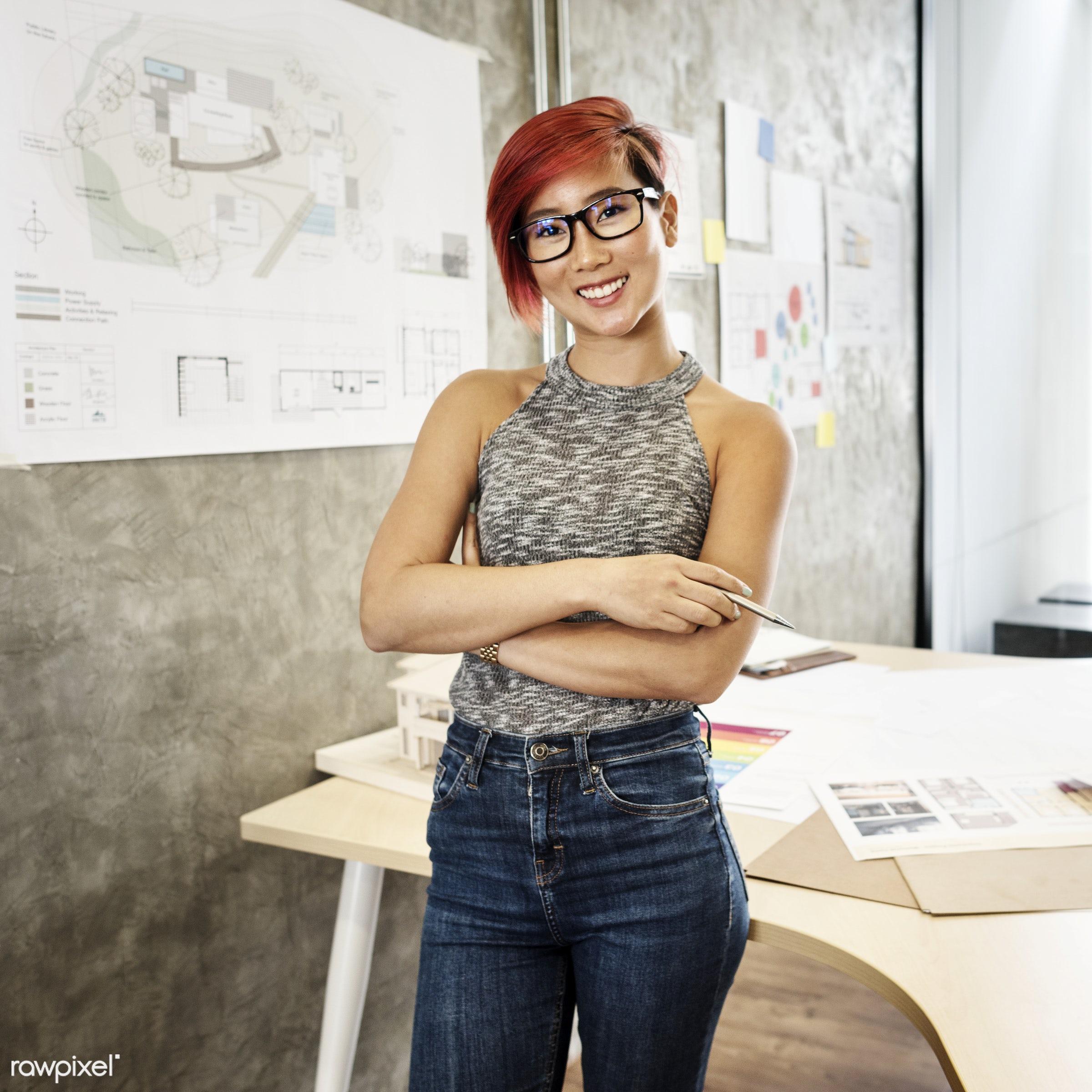 Asian architect woman - designer, woman, office, model, brainstorming, innovation, design, cheerful, morning, asian...