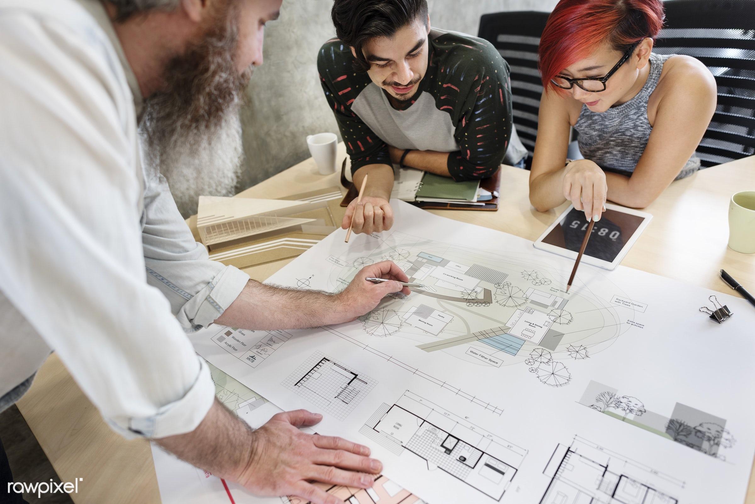 architect, architecture, asian ethnicity, assistance, blueprint, brainstorming, communication, connection, creative...