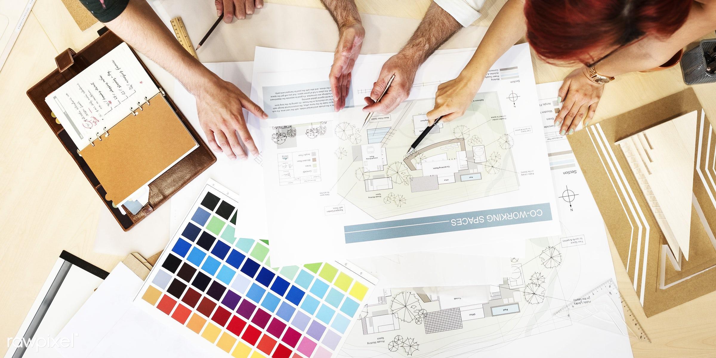 aerial view, architect, architecture, assistance, blueprint, brainstorming, color swatch, communication, connection,...