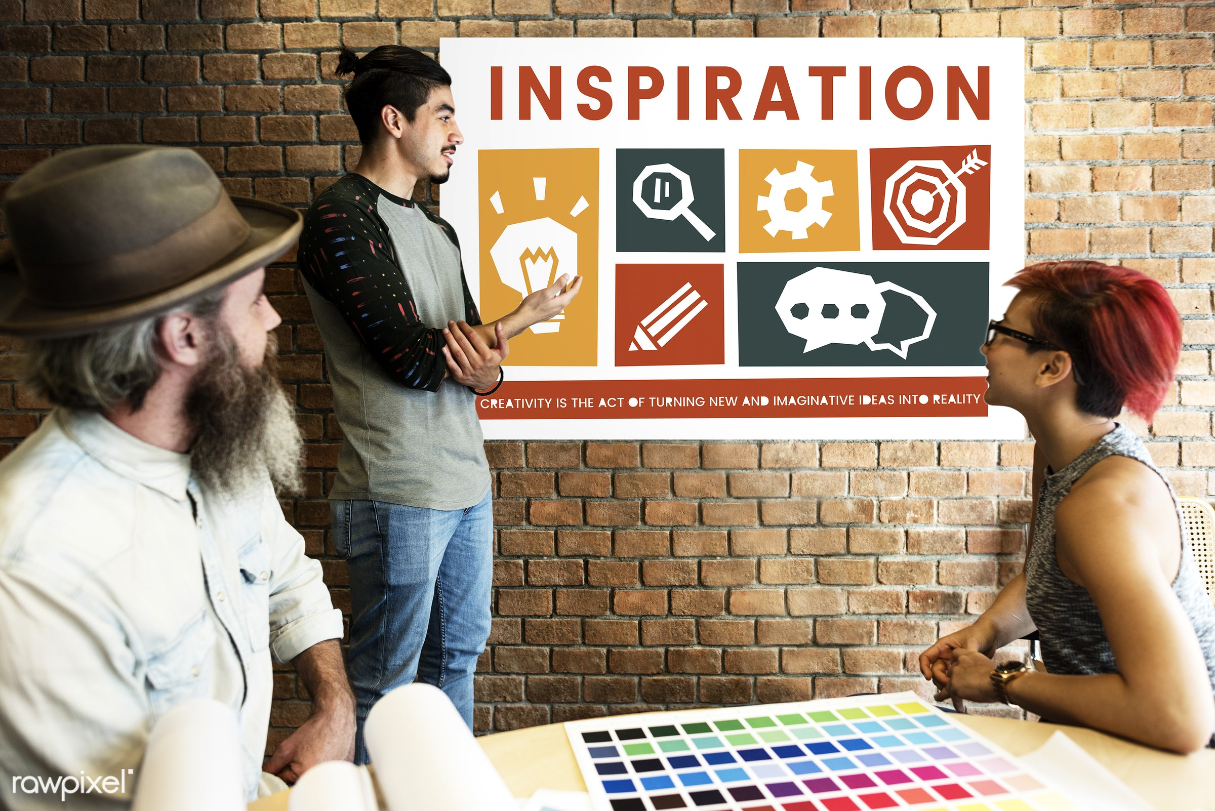 art, beard, board, brick wall, chart, chat, cog, color chart, colors, creative, creativity, design, discussion, female,...