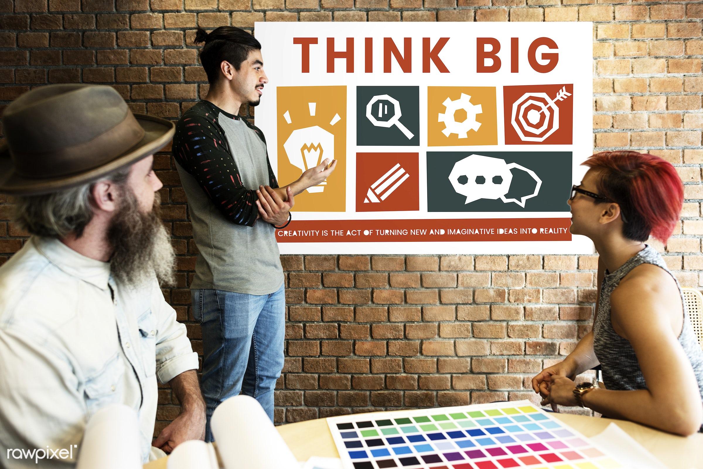 art, beard, big, board, brick wall, chart, chat, cog, color chart, colors, creative, creativity, design, discussion, female...