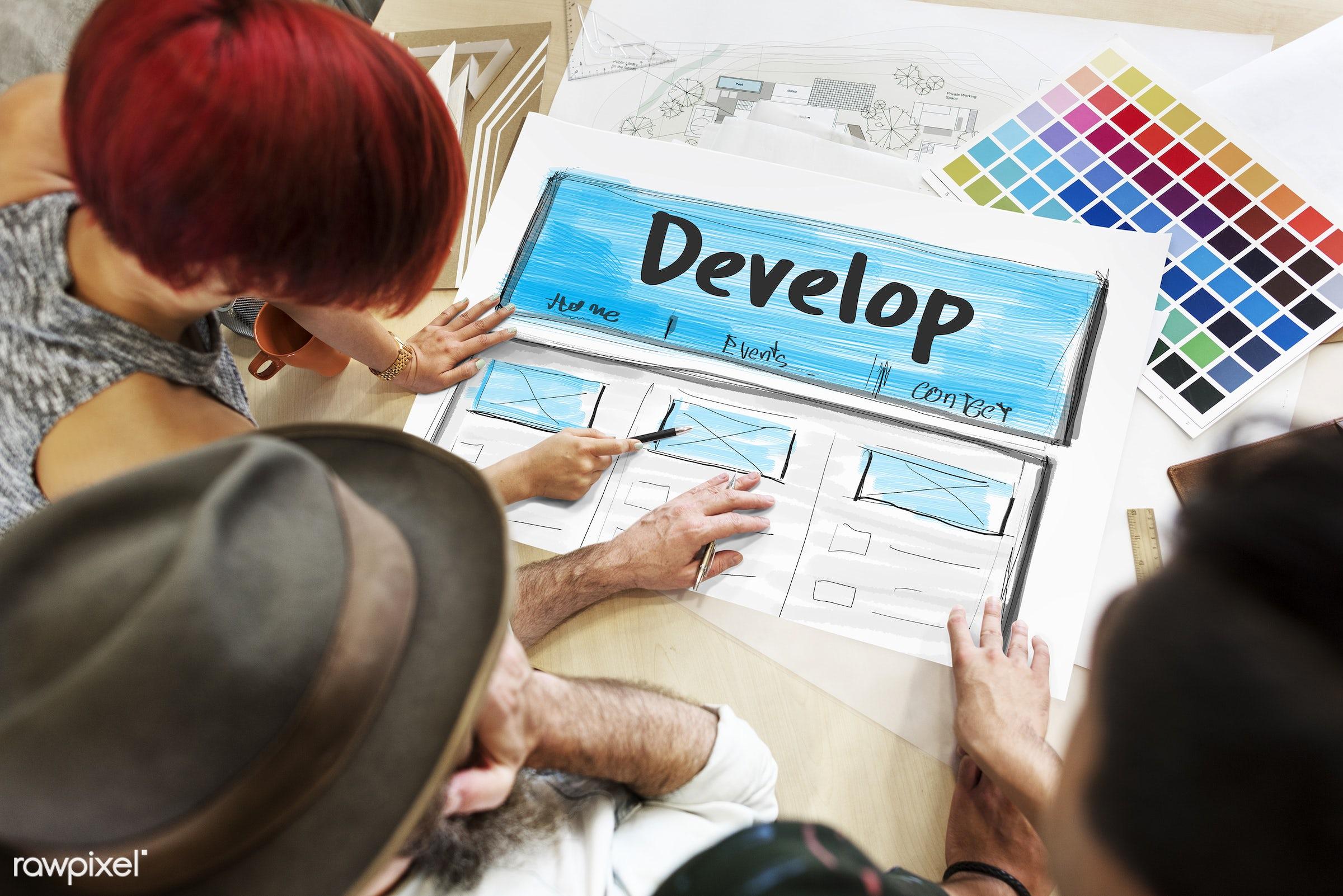 art, assemble, color chart, colors, content, creation, creative, design, develop, development, discussion, draft, drawing,...