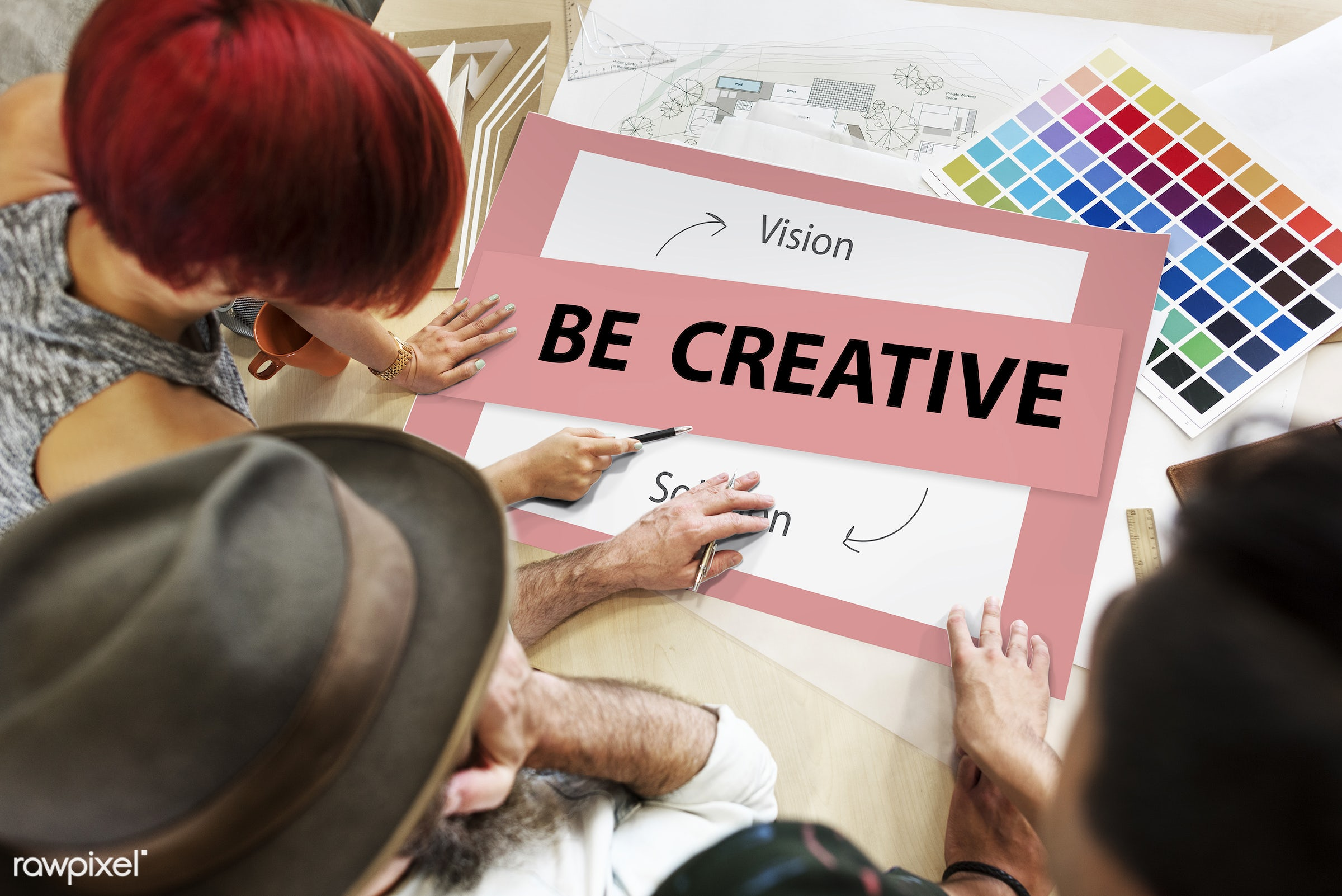 Be creative - action, art, be, brainstorming, business, color chart, colors, creative, creativity, design, discussion,...