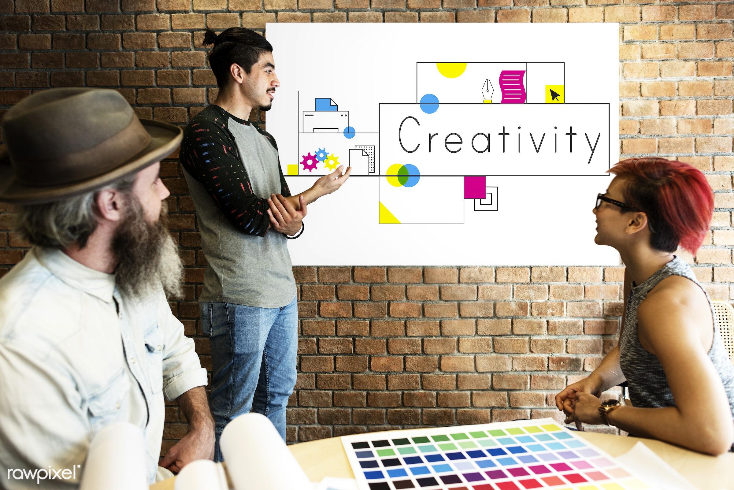 art, beard, board, brick wall, chart, cmyk, color chart, colors, creative, creativity, design, discussion, female, graphic,...