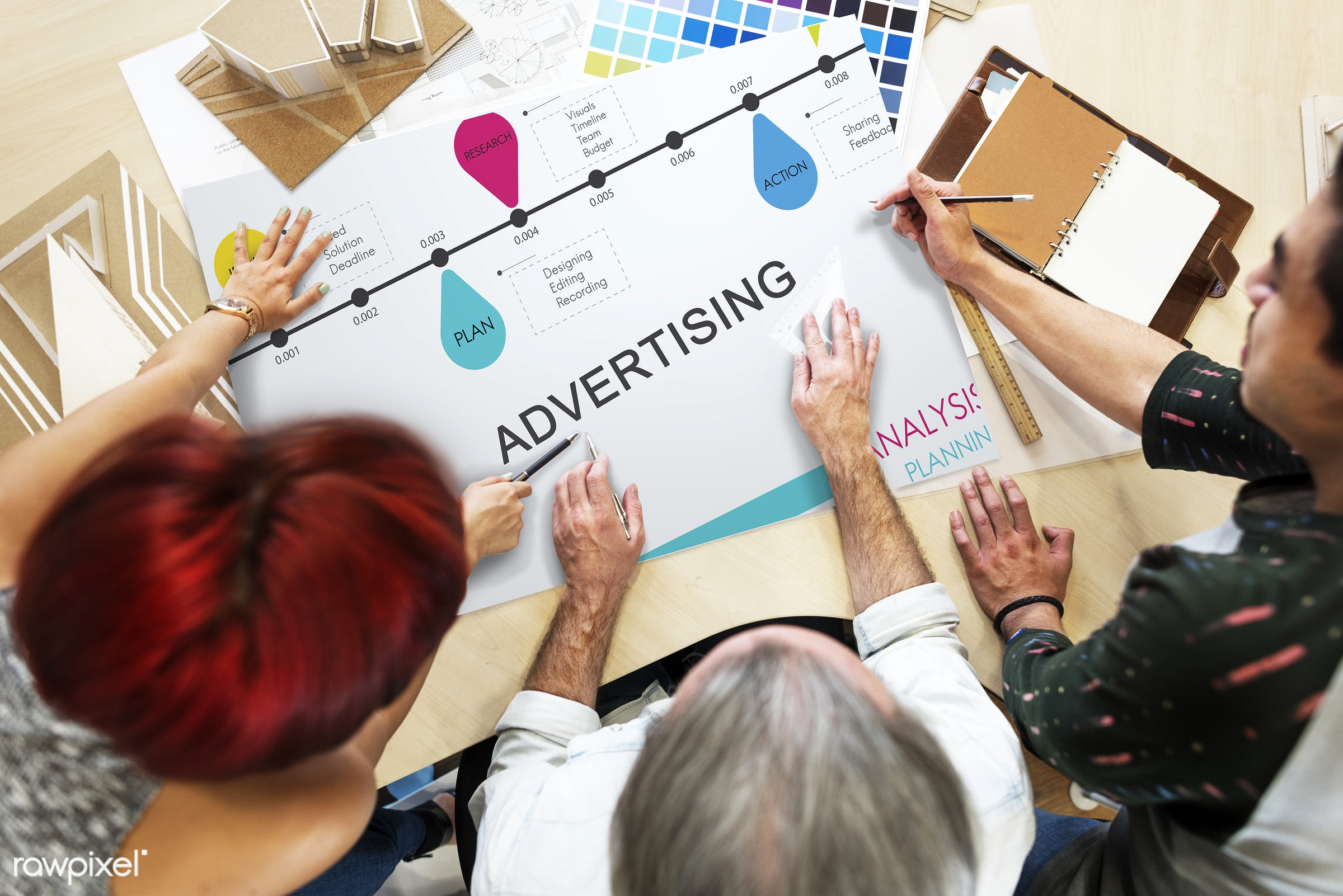 actions, advertising, analysis, art, branding, business, color chart, colors, design, development, discussion, female, hands...