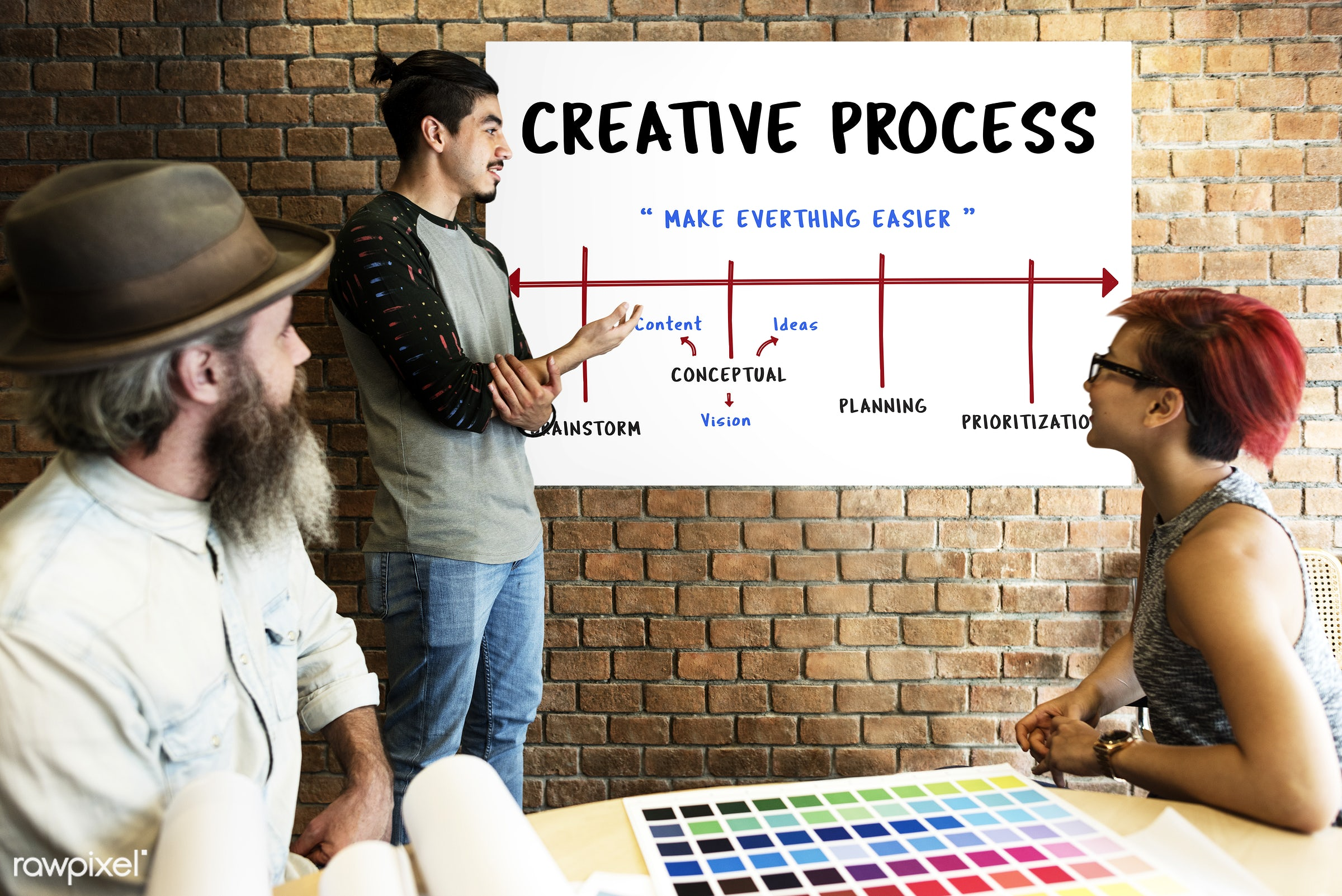 art, beard, board, brainstorm, brick wall, chart, color chart, colors, communication, connection, creative, creativity,...