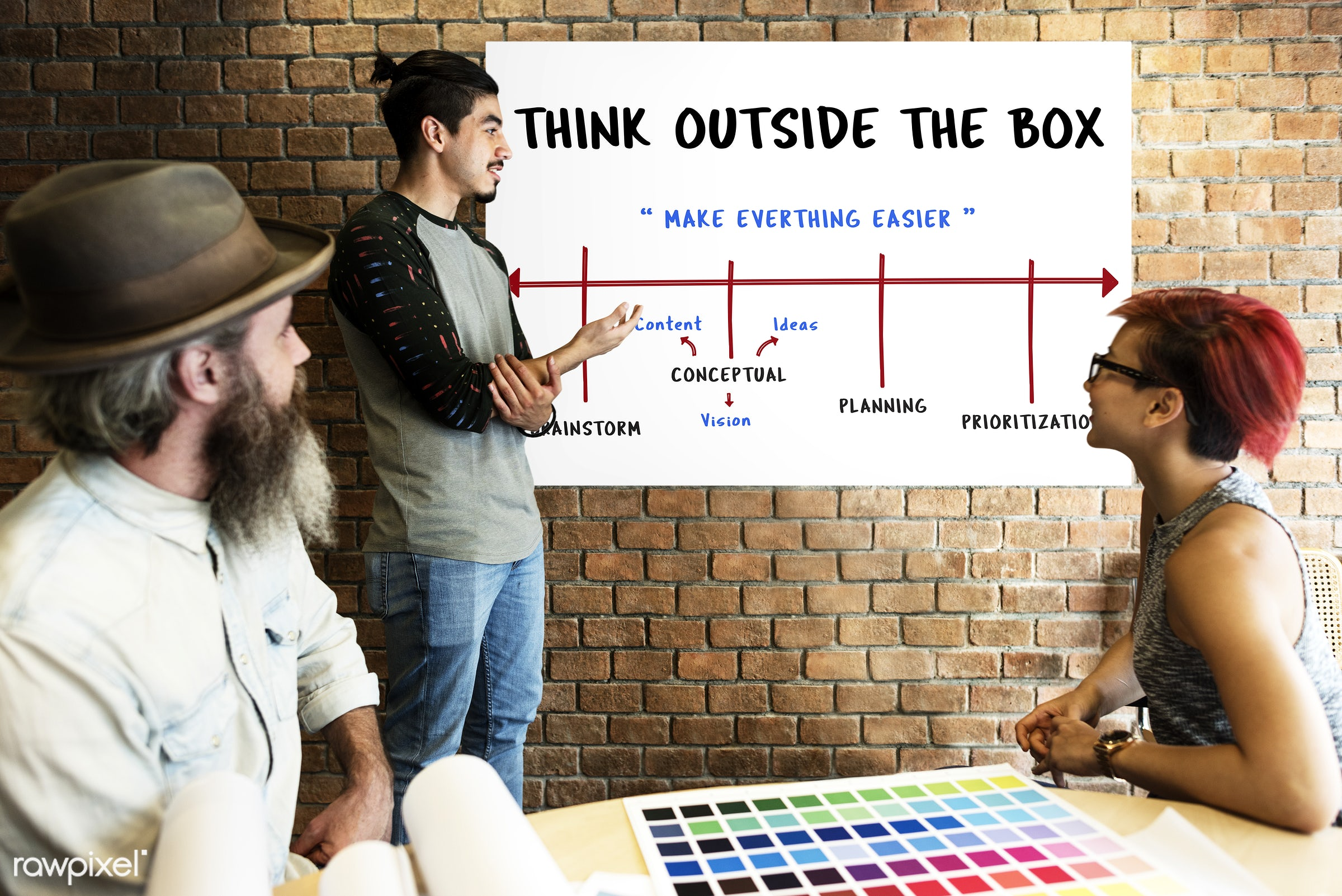 art, beard, board, brainstorm, brick wall, chart, color chart, colors, communication, connection, creative, creativity,...