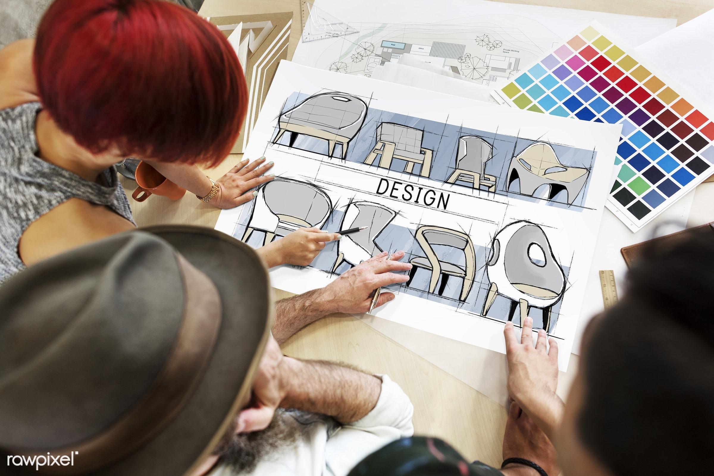 Architects working in a design studio - sketch, designer, interior, development, maintenance, think, thinking, art, color...