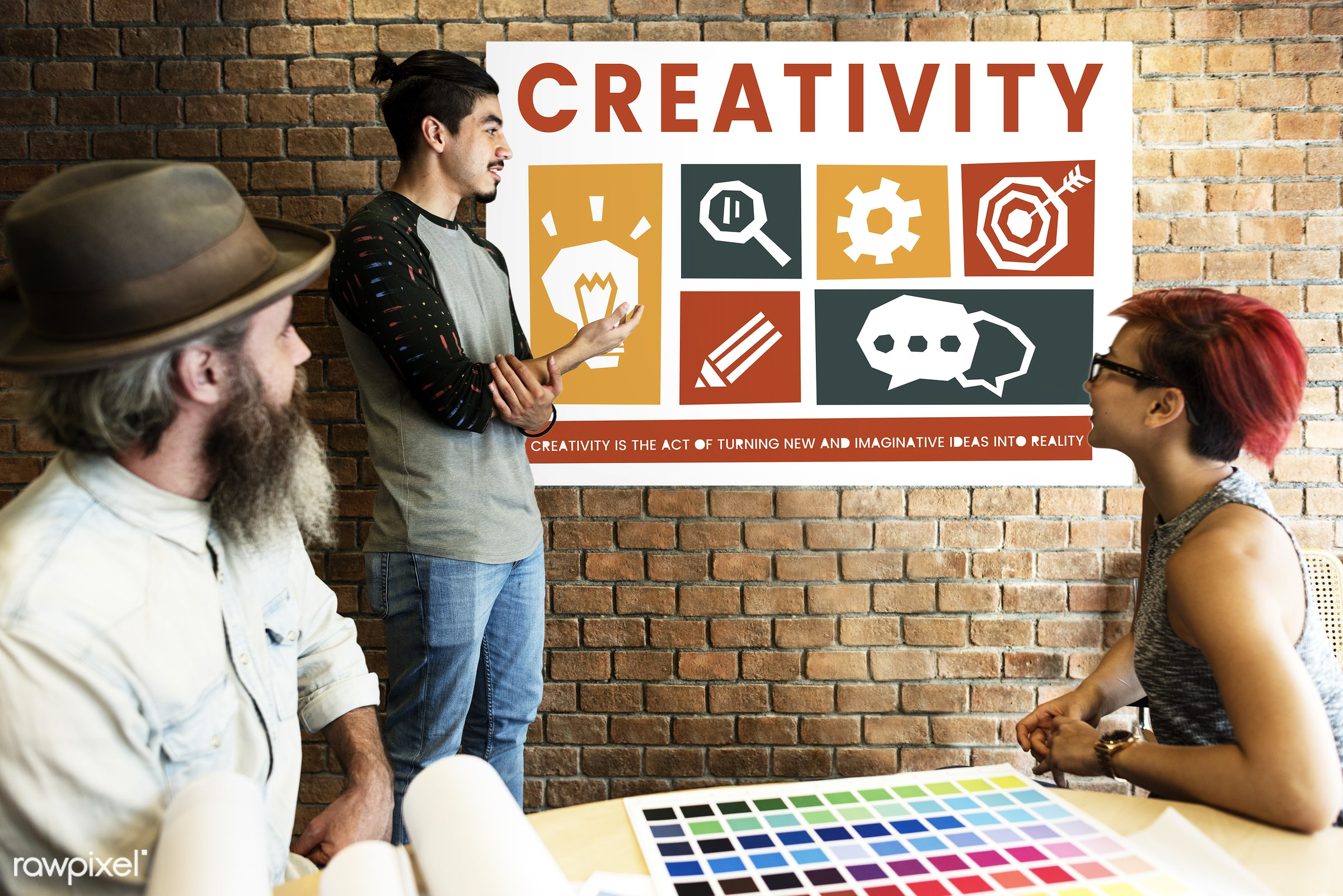art, beard, board, brick wall, chart, chat, cog, color chart, colors, creative, creativity, design, discussion, female,...