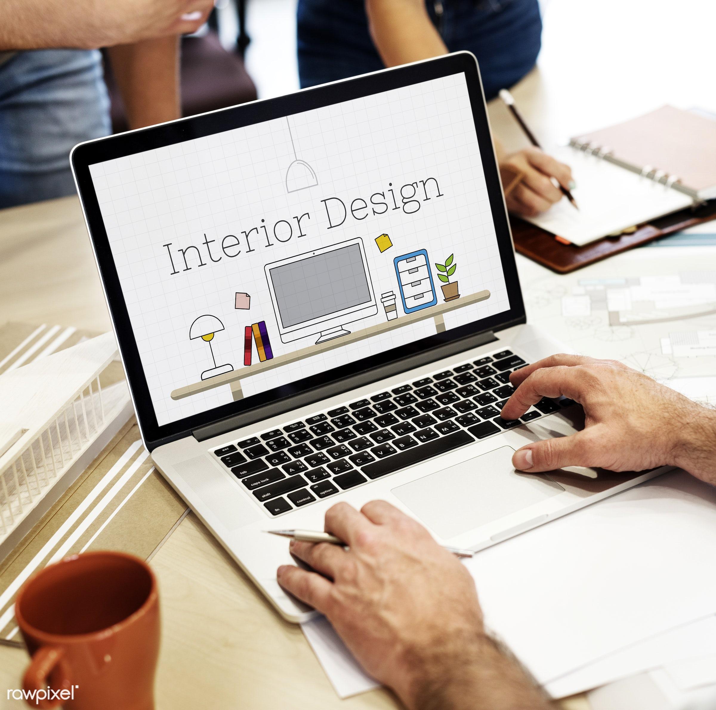 Digital interior design - laptop, interior, architect, architecture, art, blueprint, coffee, coffee cup, computer, cup,...