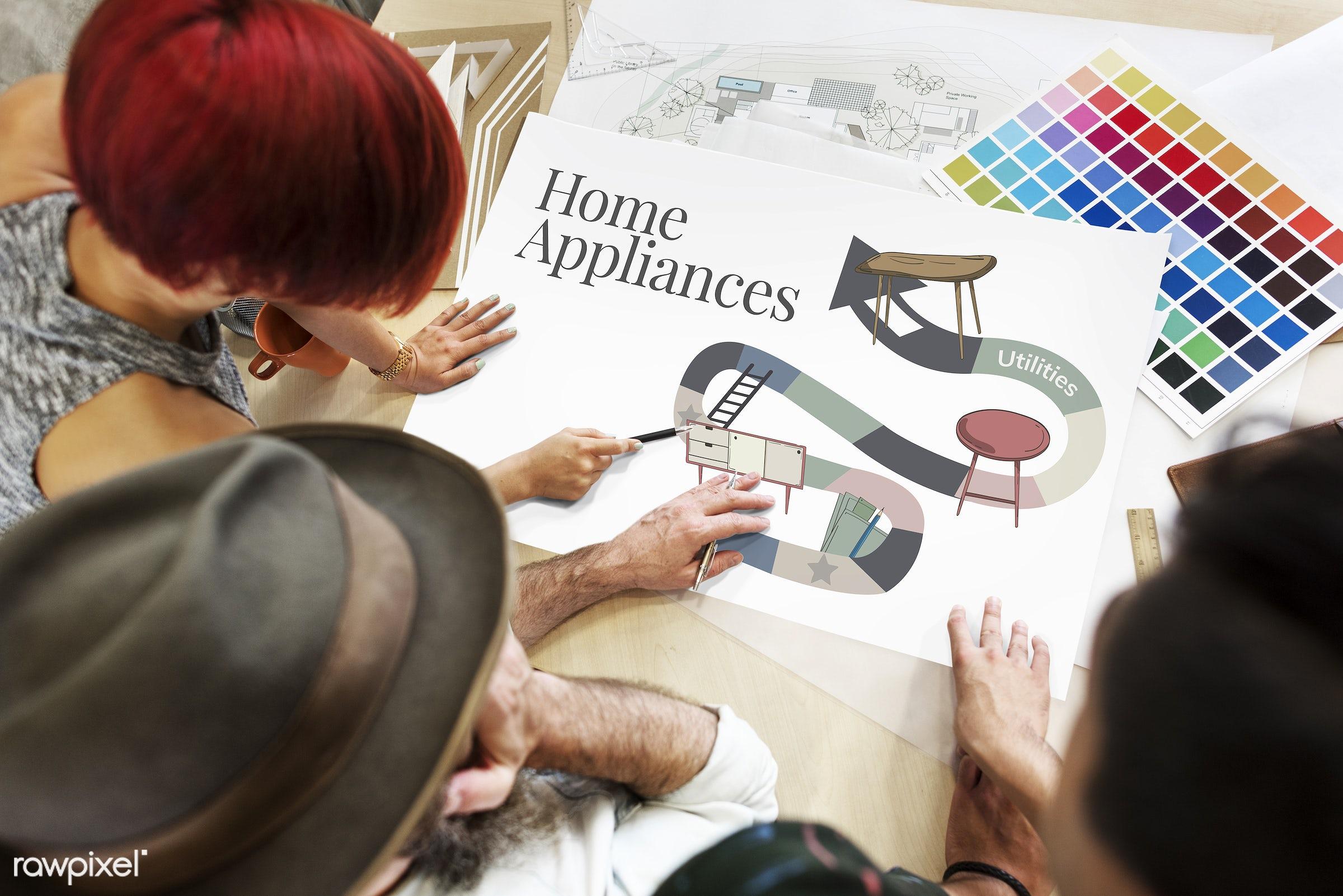 appliances, architecture, art, color chart, colors, concept, creative, creativity, decor, decoration, design, discussion,...