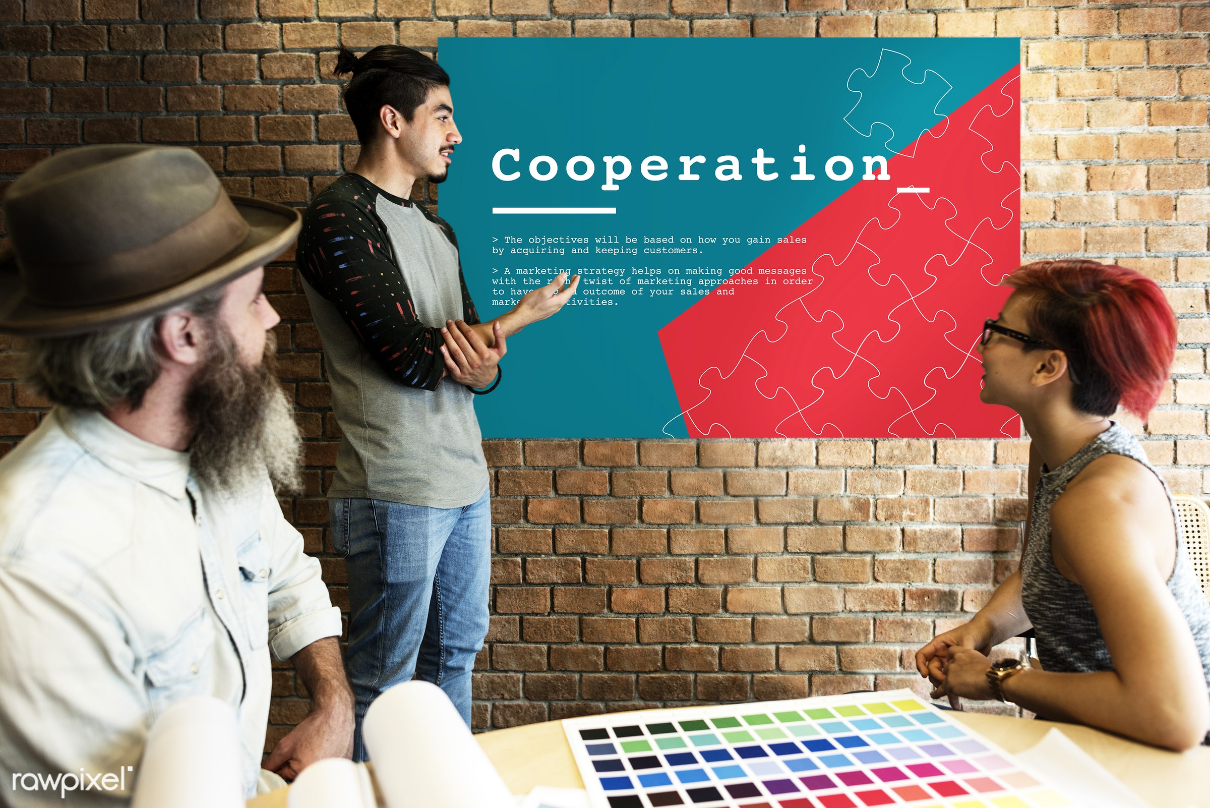 art, beard, board, brick wall, business, chart, collaboration, color chart, colors, company, cooperation, corporate, design...