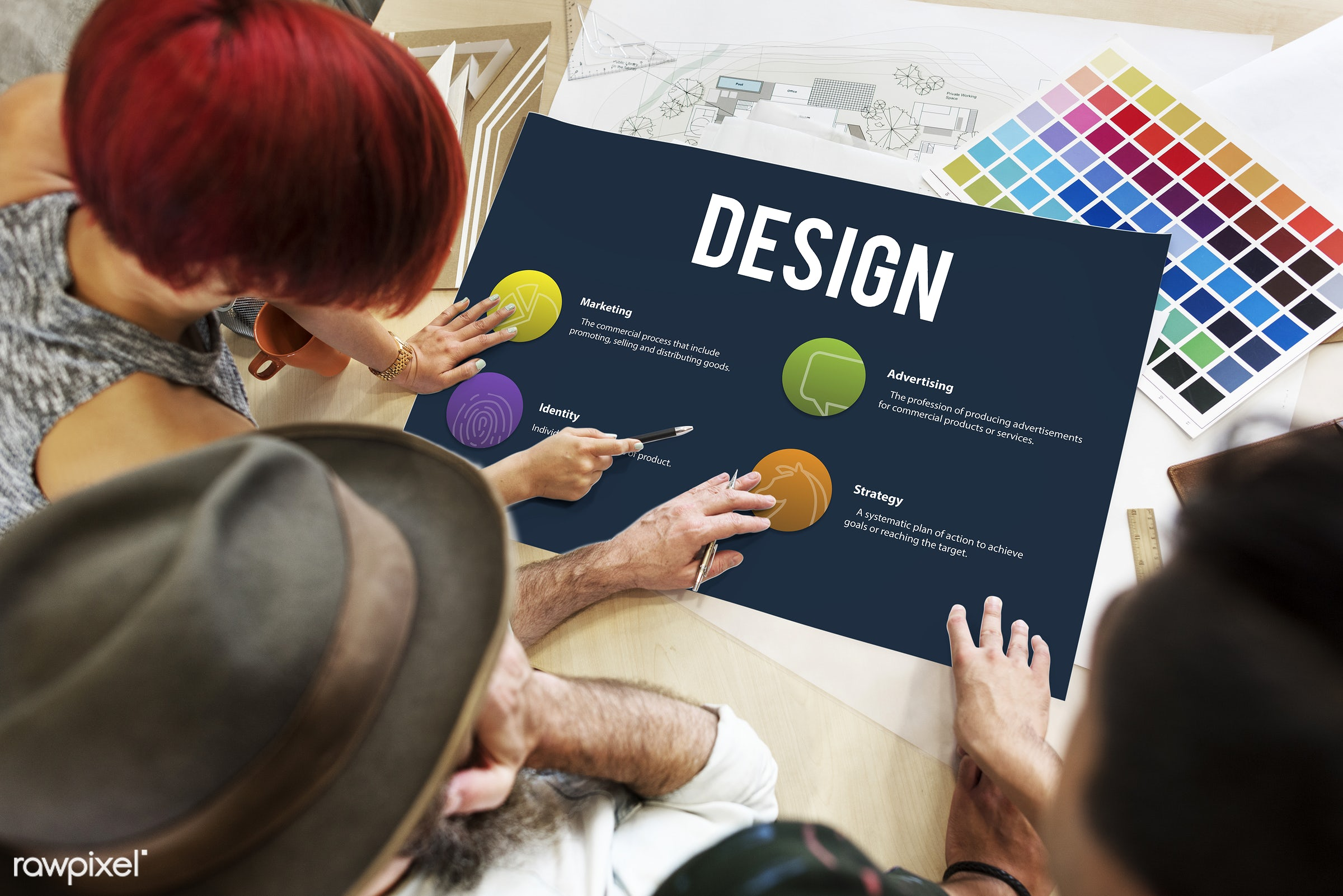 advertising, analysis, art, brand, business, color chart, colors, concept, creativity, design, discussion, female, hands,...