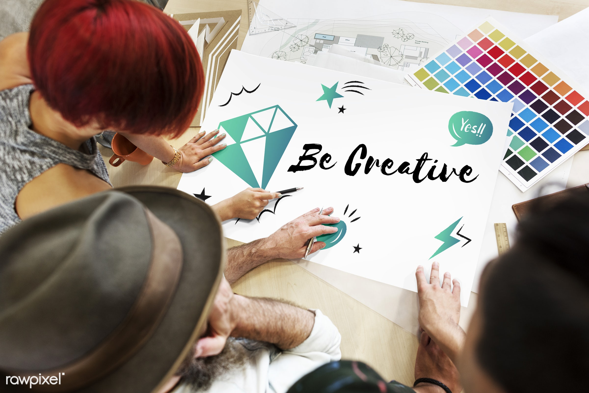 art, be creative, blueprint, color chart, colors, creative, creativity, design, diamond, discussion, draft, drawing, female...