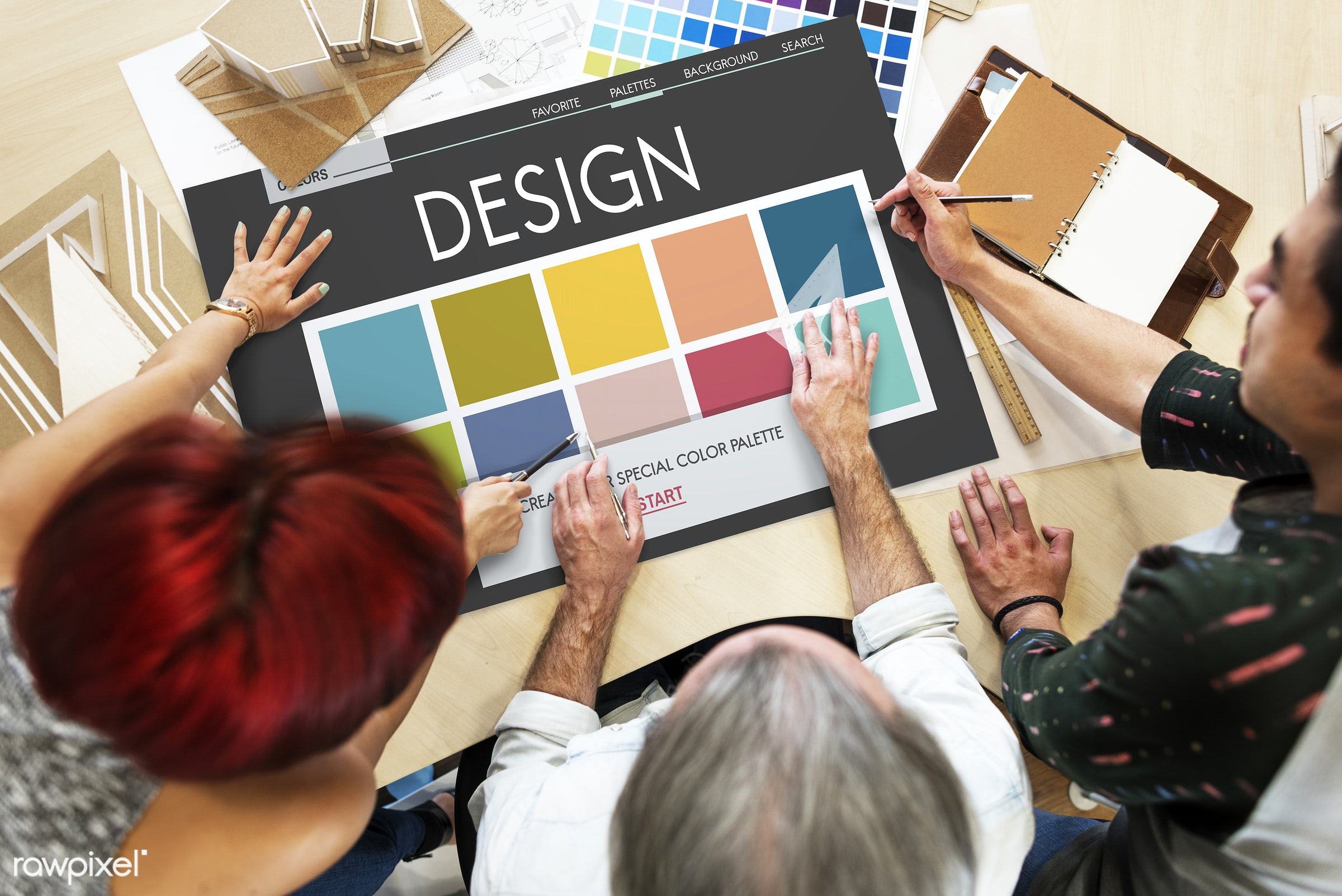 Designers working on a project - art, be creative, catalog, chart, color chart, color inspiration, coloring, colors, colour...
