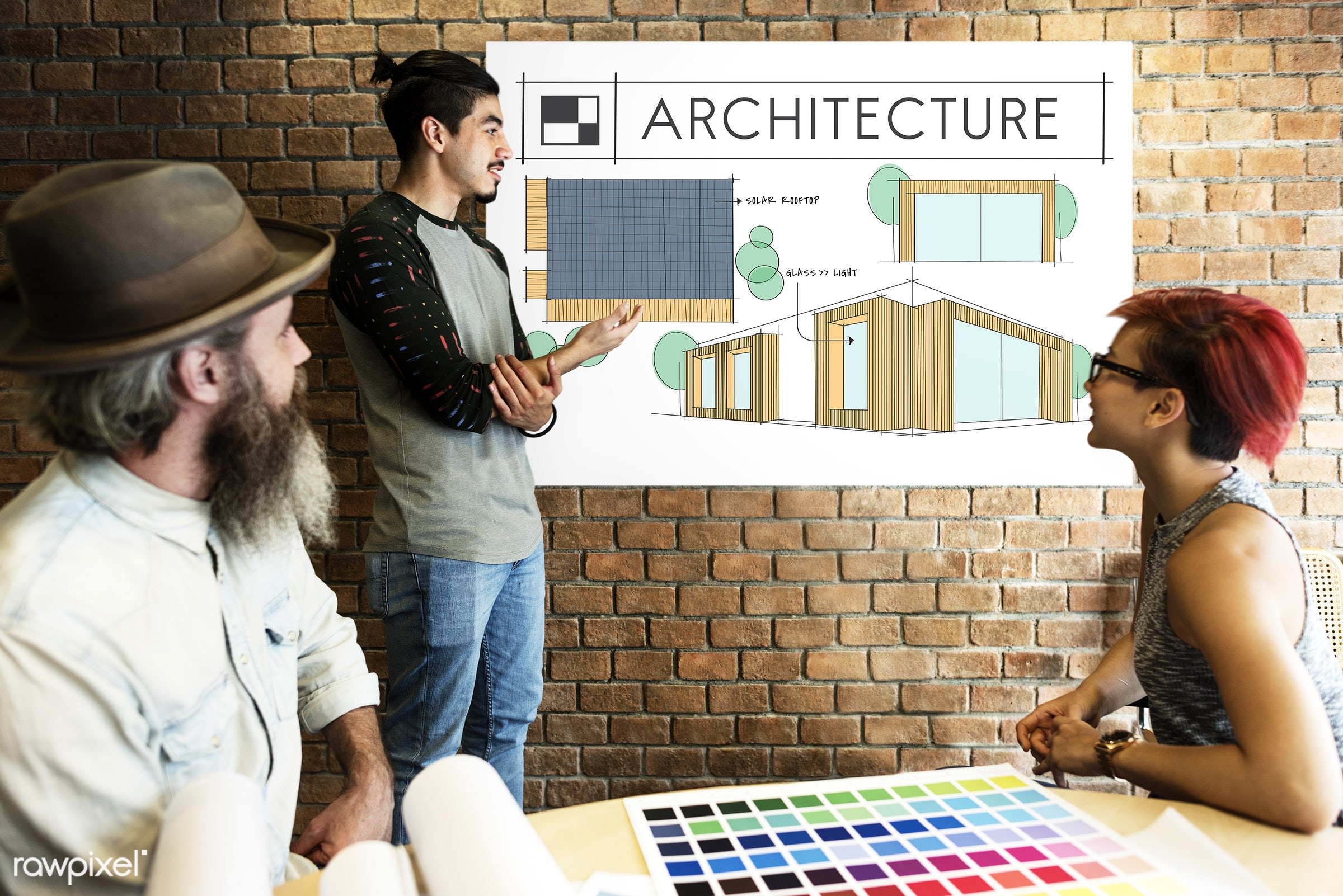 architecture, art, beard, board, brick wall, building, chart, color chart, colors, contemporary, creative, decor, decoration...