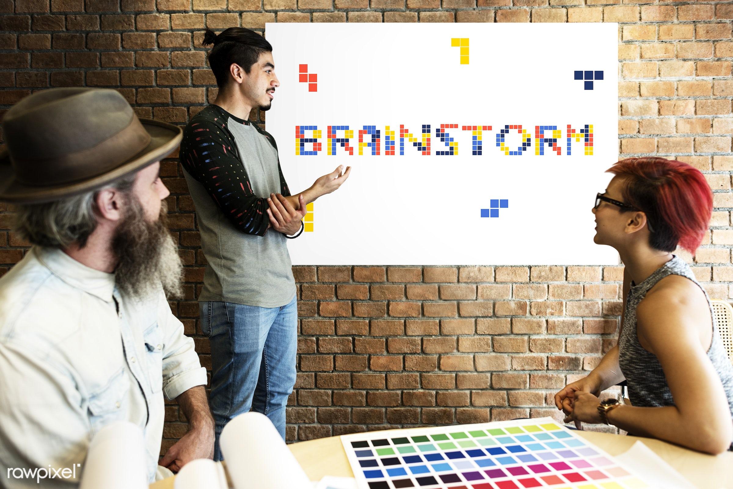 8 bit, art, beard, block, board, brainstorm, brick wall, chart, color chart, colors, design, discussion, female, game,...