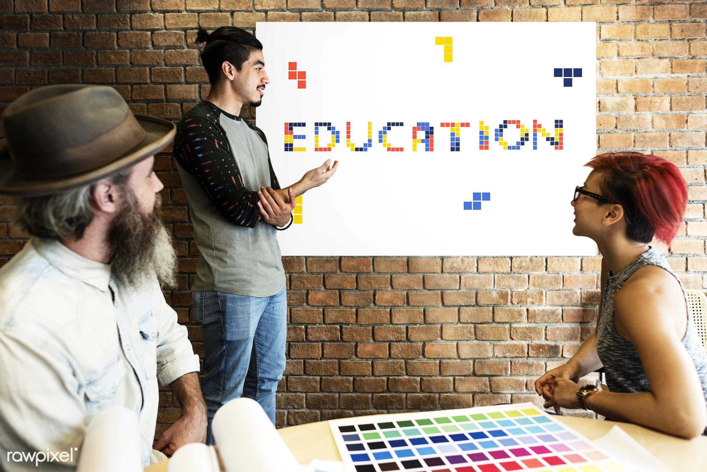 8 bit, academics, art, beard, block, board, brick wall, chart, color chart, colors, design, discussion, education, female,...
