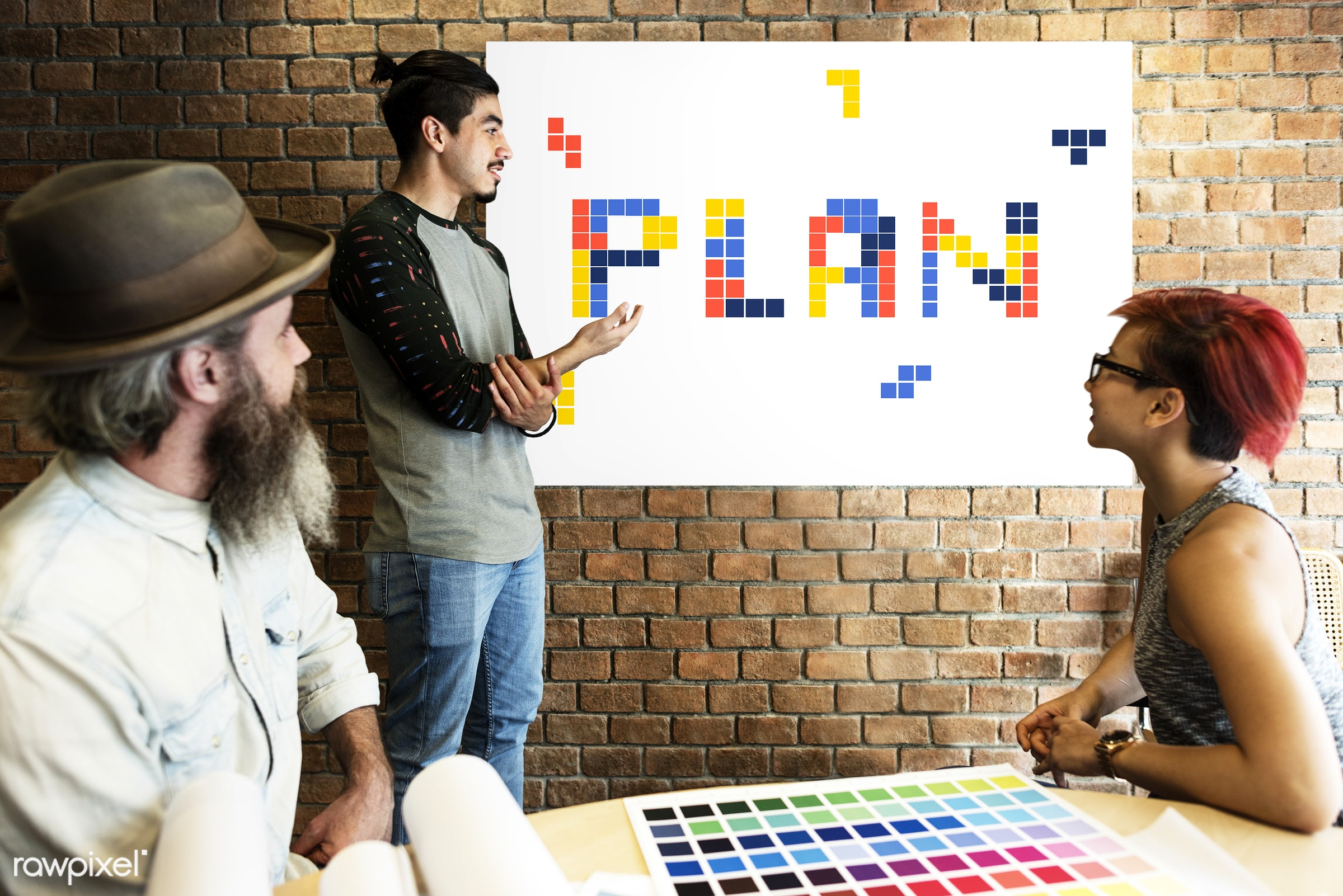 8 bit, art, beard, block, board, brainstorm, brick wall, chart, color chart, colors, design, discussion, female, game,...